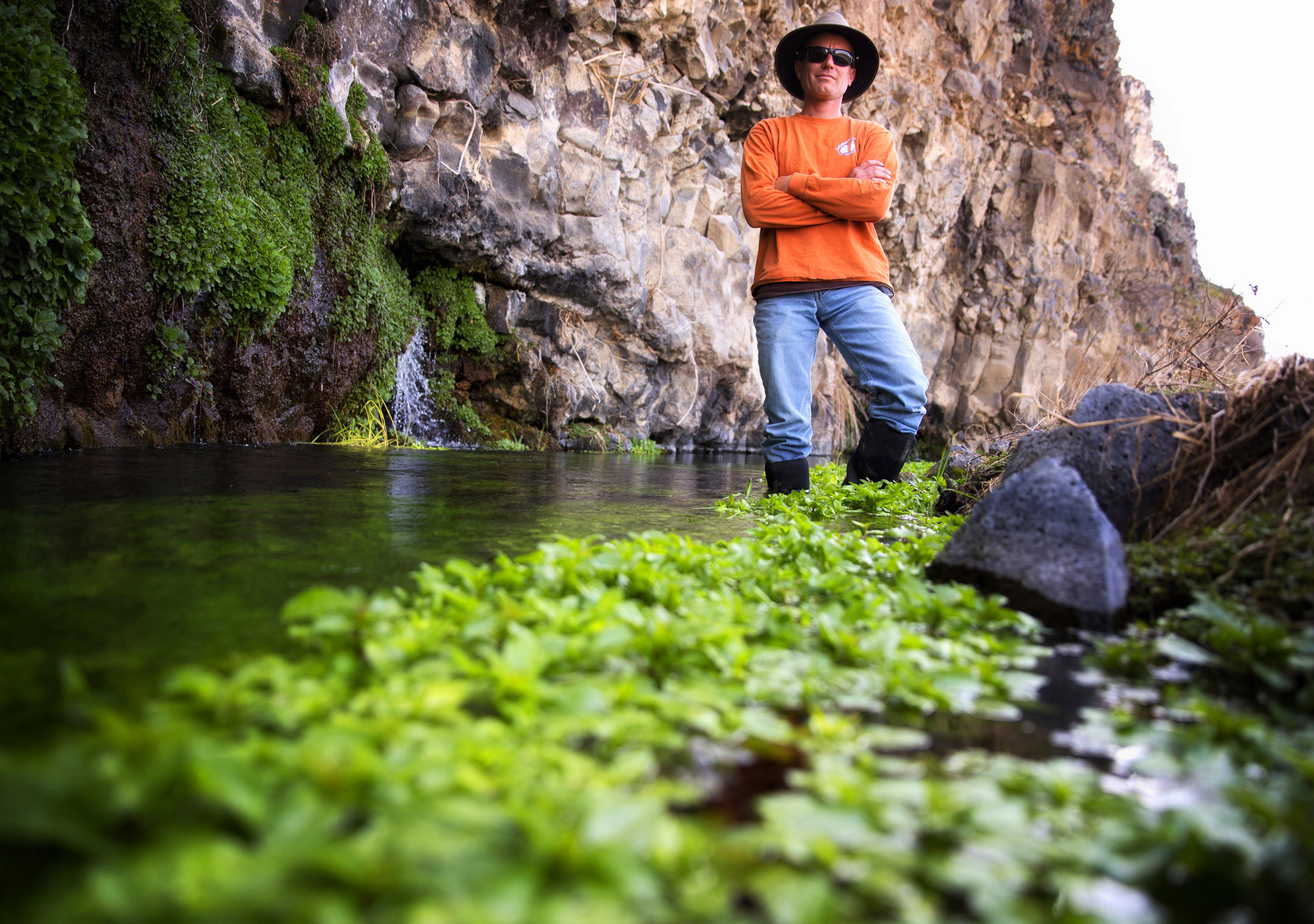 Idaho Aquaculture Industry - Manager Dirk Bogaard poses for a portrait in the natural spring water used at his facility Tuesday, March 14, 2017, at Idaho Trout Company in Hagerman Idaho. Bogaard says the aquaculture industry's future lies in lower waste loads. 'The ability to produce fish economically with the water we have available is key,' he says.