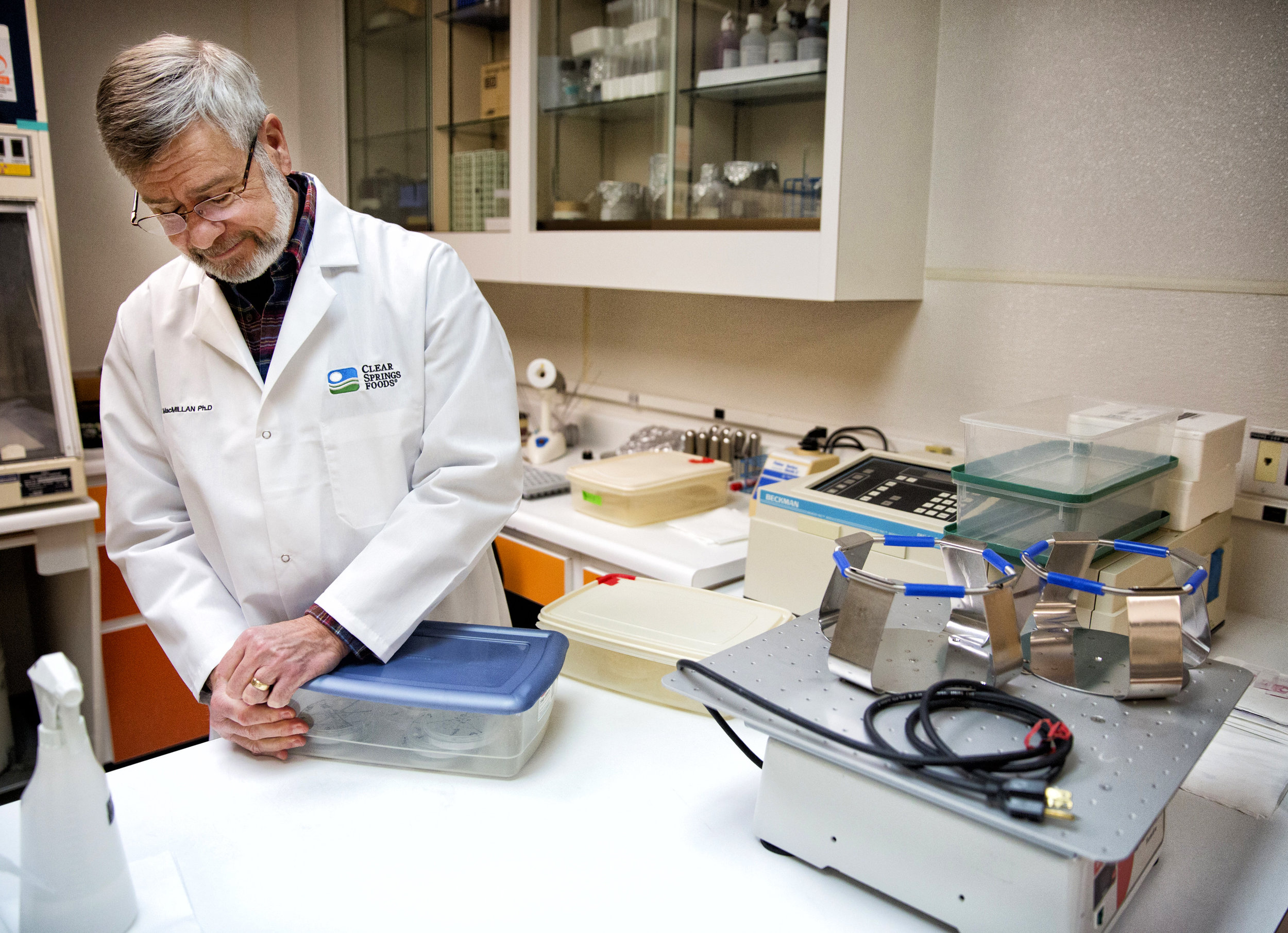 Randy MacMillan, vice-president of research, technical services and quality assurance, looks at bacteria smears in the bacteriology lab Wednesday, Jan. 25, 2017, at Clear Springs Foods in Buhl Idaho. Clear Springs Foods has been researching a way to prevent bacterial coldwater disease in fish for three decades, MacMillan says. Coldwater disease and columnar (also called cotton-mouth or cotton-wool) can be devastating to hatcheries. 'Very soon we'll have a vaccine for both of those,' MacMillan says.