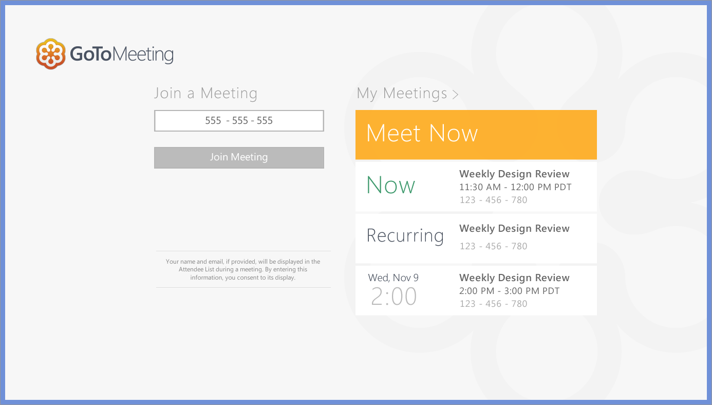 Join & My Meetings.  When organizers are logged in, they can see theupcoming meetings they are hosting.