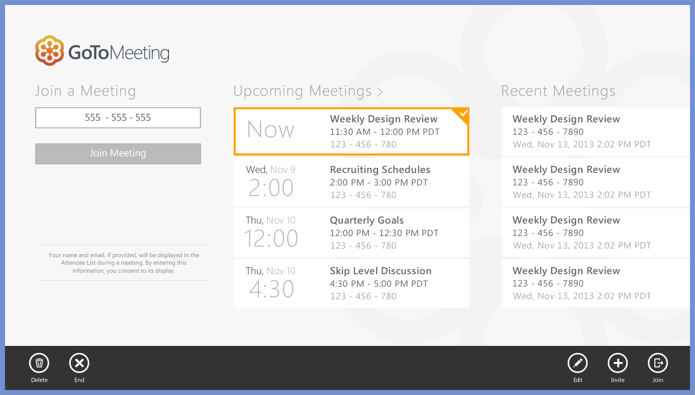 Calendar Integration. With calendar integration, the app displays upcoming meetings from the user's calendar. Once users follow default Windows gestures to select a meeting, related commands appear in the bottom appbar.