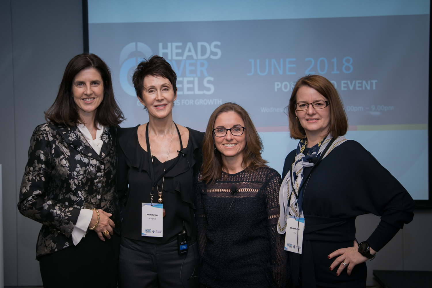 Carolyn presenting at Heads over Heels in June 2018 with HoH CEO, Nicola Swift, along with fellow entrepreneurs Jenny Cayzer of FlyLegsUp and Sylvia Pfieffer of Coviu.