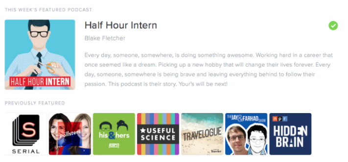 Half Hour Intern Pocket Casts Weekly Feature