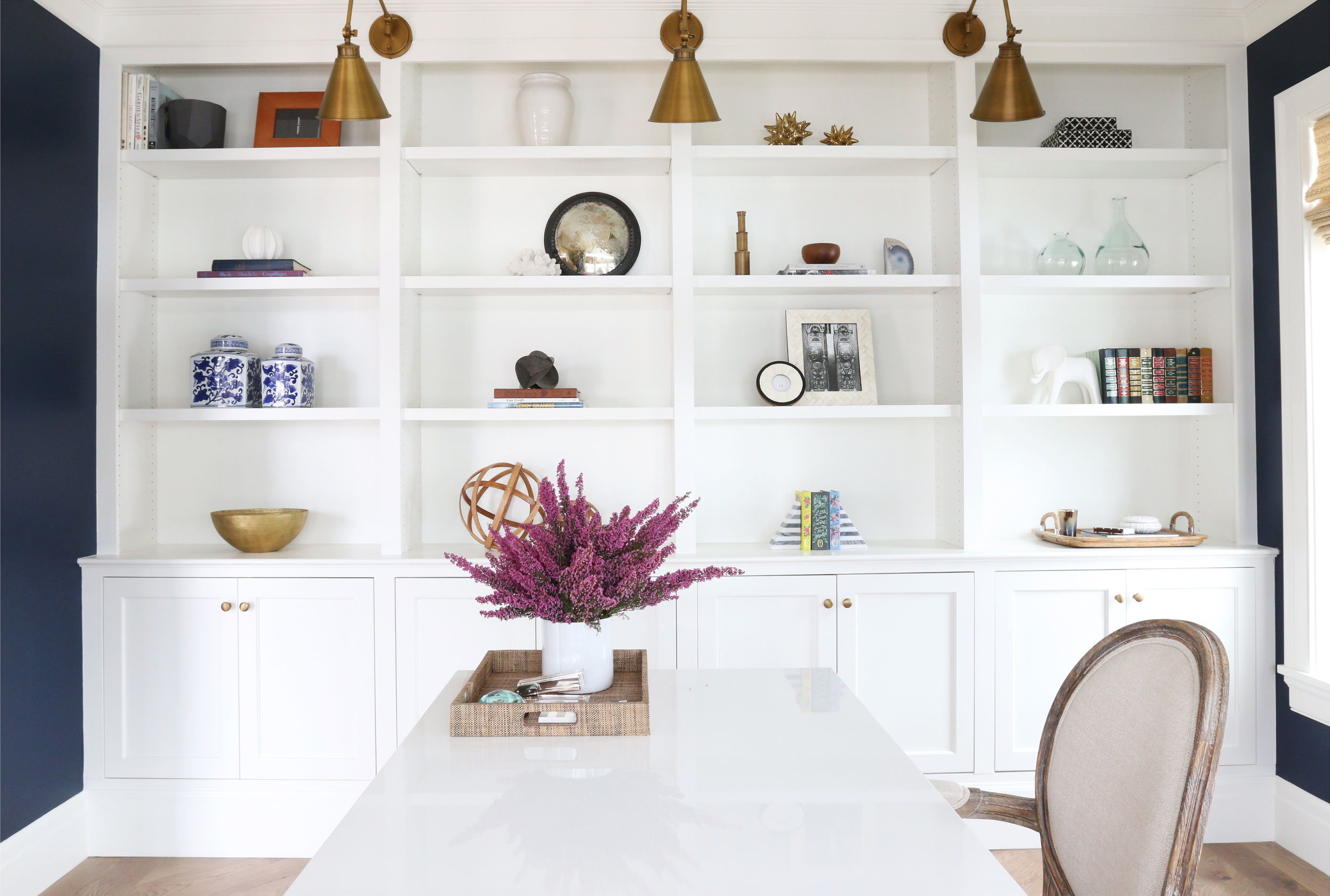 Built-ins with brass lights    Studio McGee