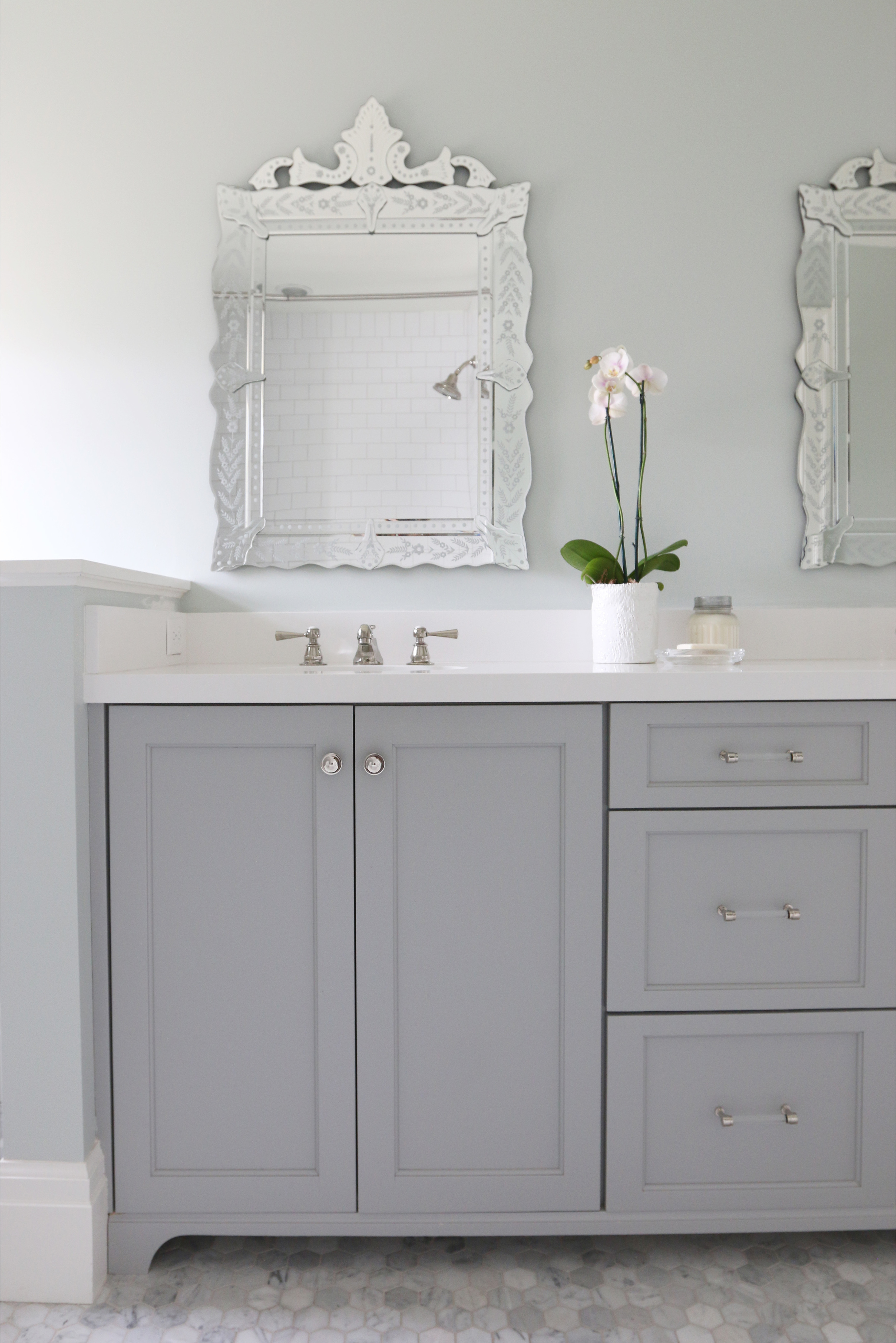 Venetian Mirror and Gray Cabinets || Studio McGee