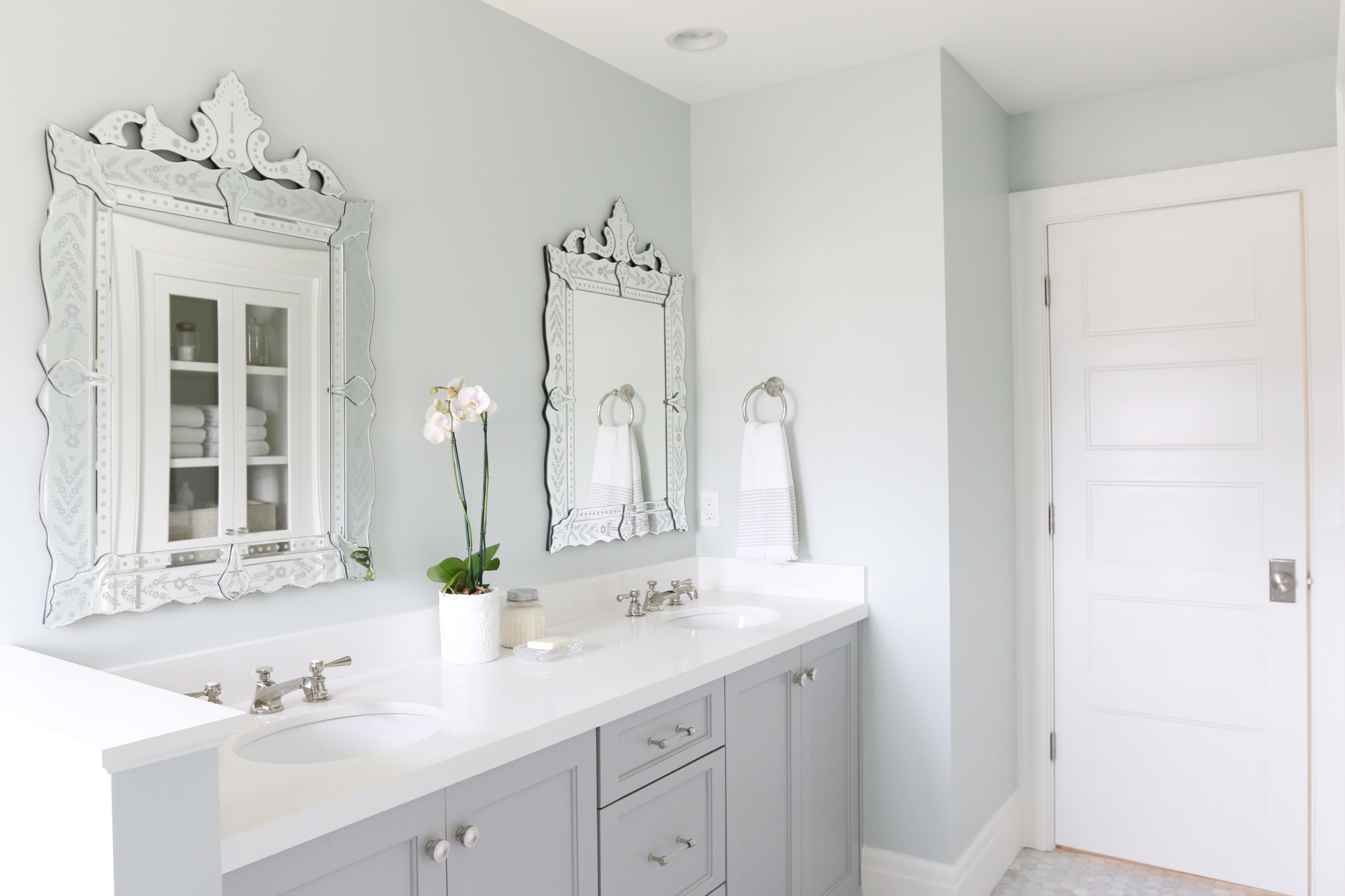 Coventry Gray Cabinets and Venetian Mirrors || Studio McGee