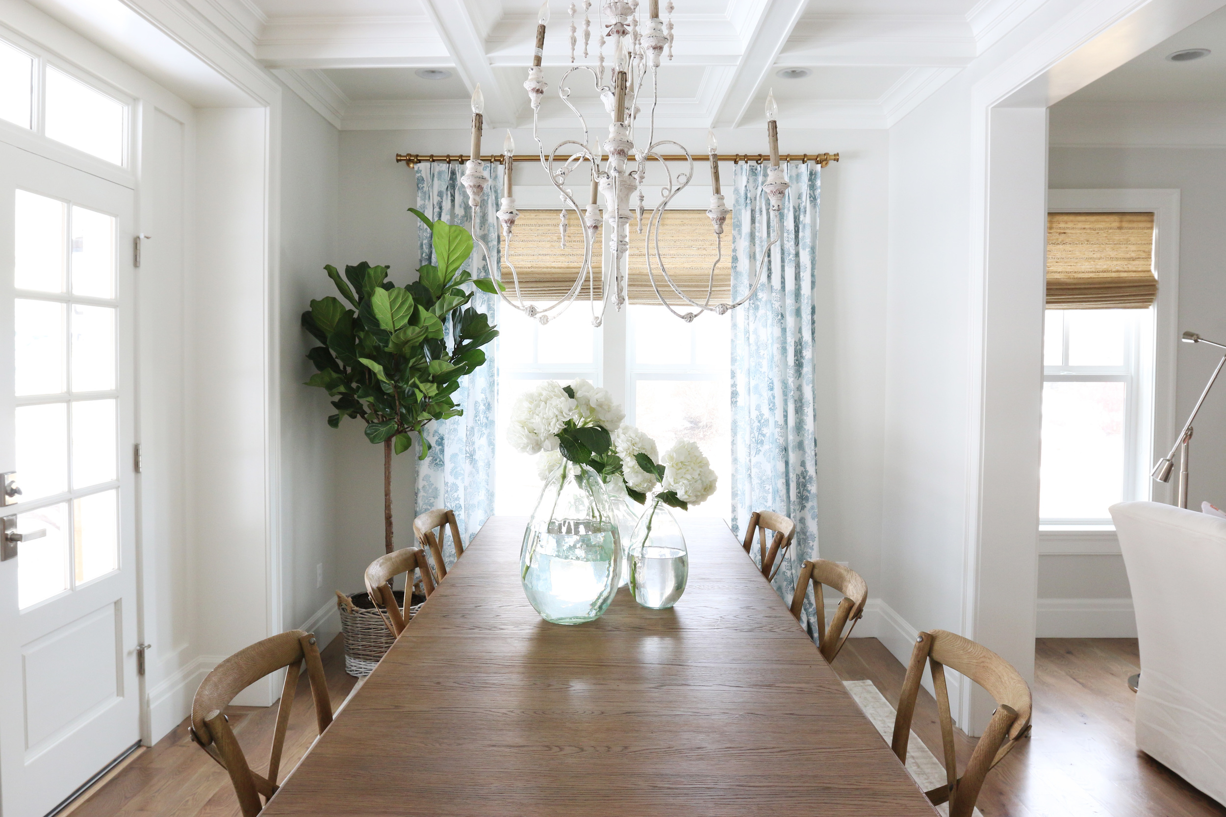 Drapes with brass hardware || Studio McGee