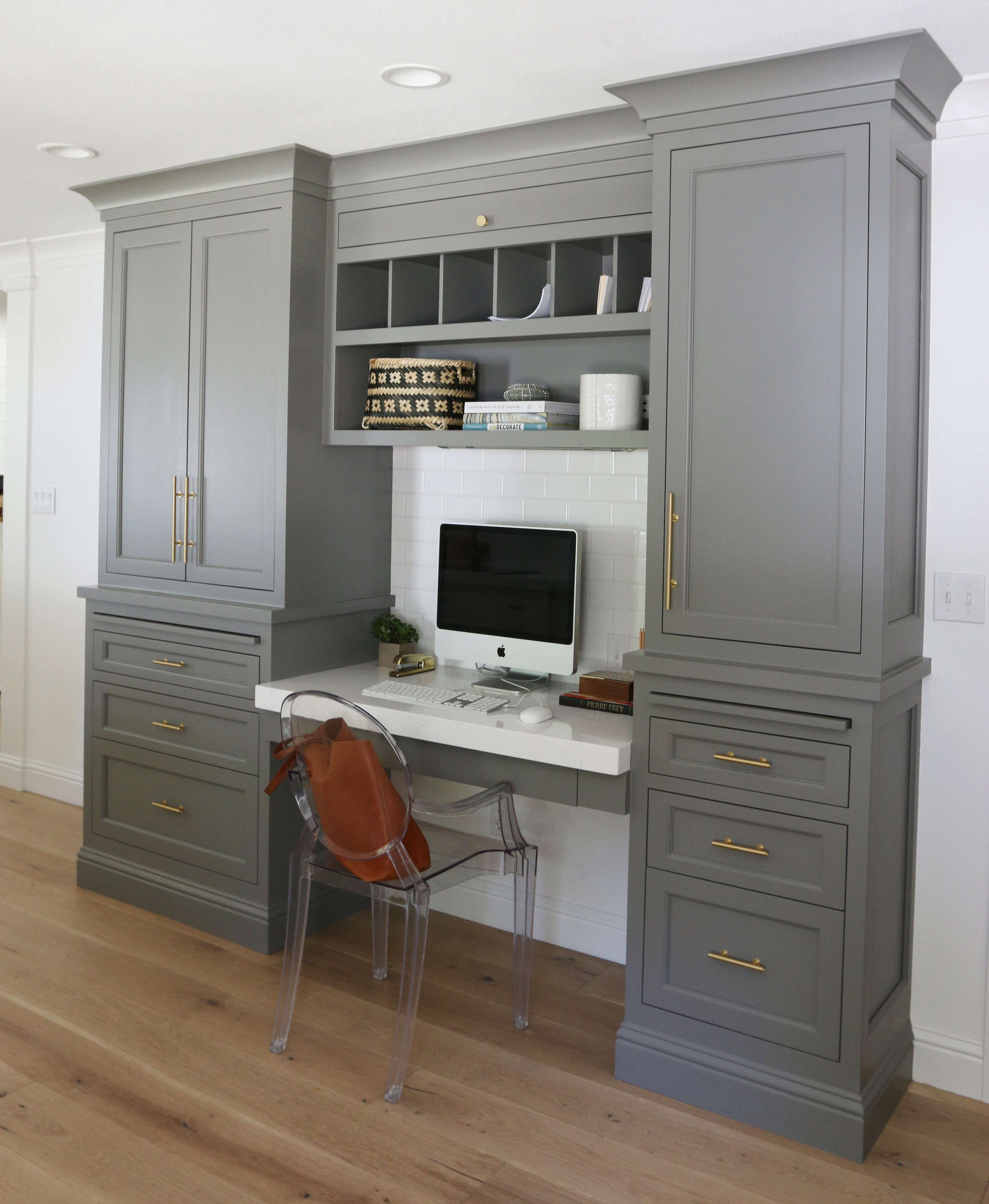 "Benjamin Moore ""Chelsea Gray"" desk built-in by Studio McGee"