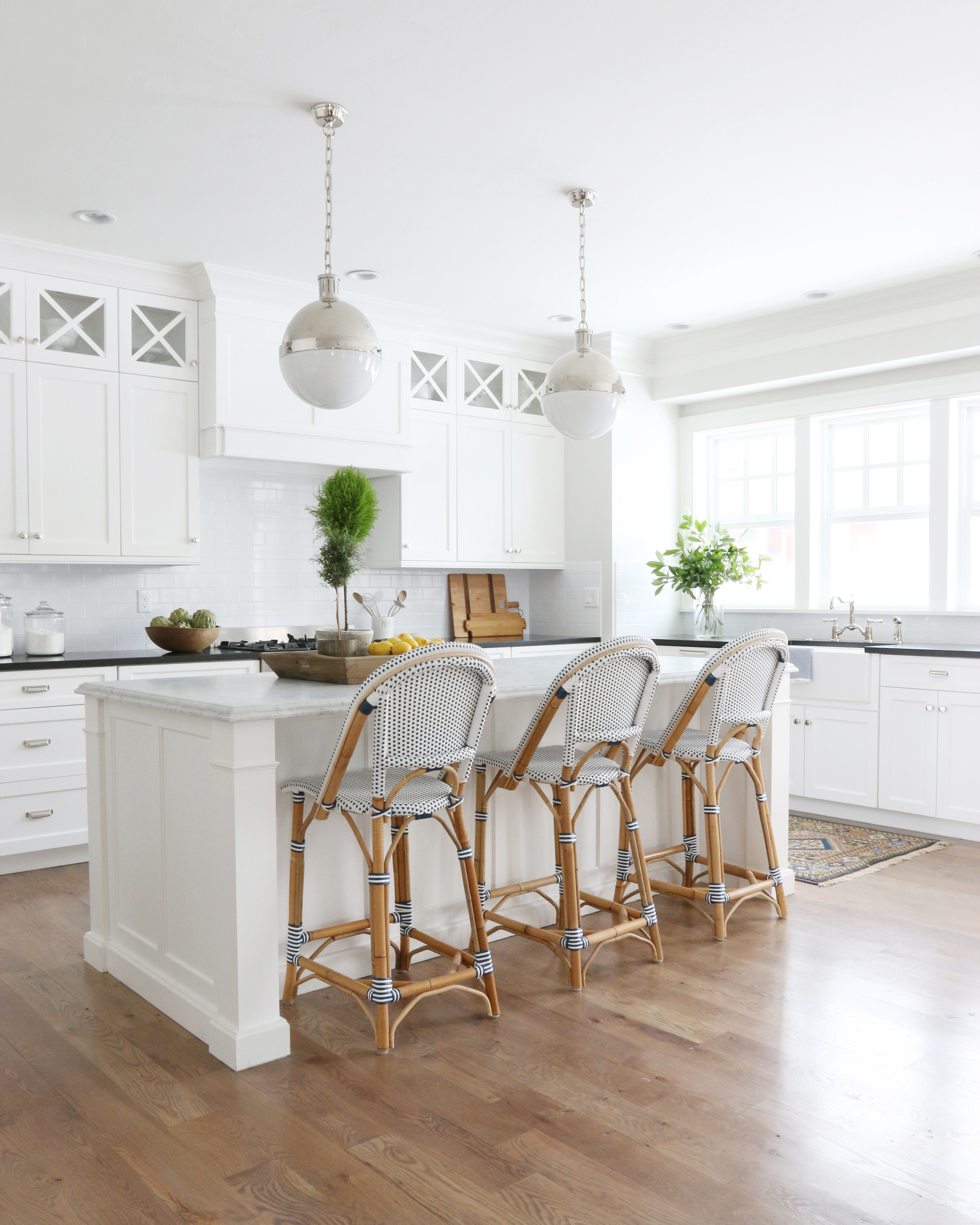 Classic White Kitchen with Bistro Stools || Studio McGee