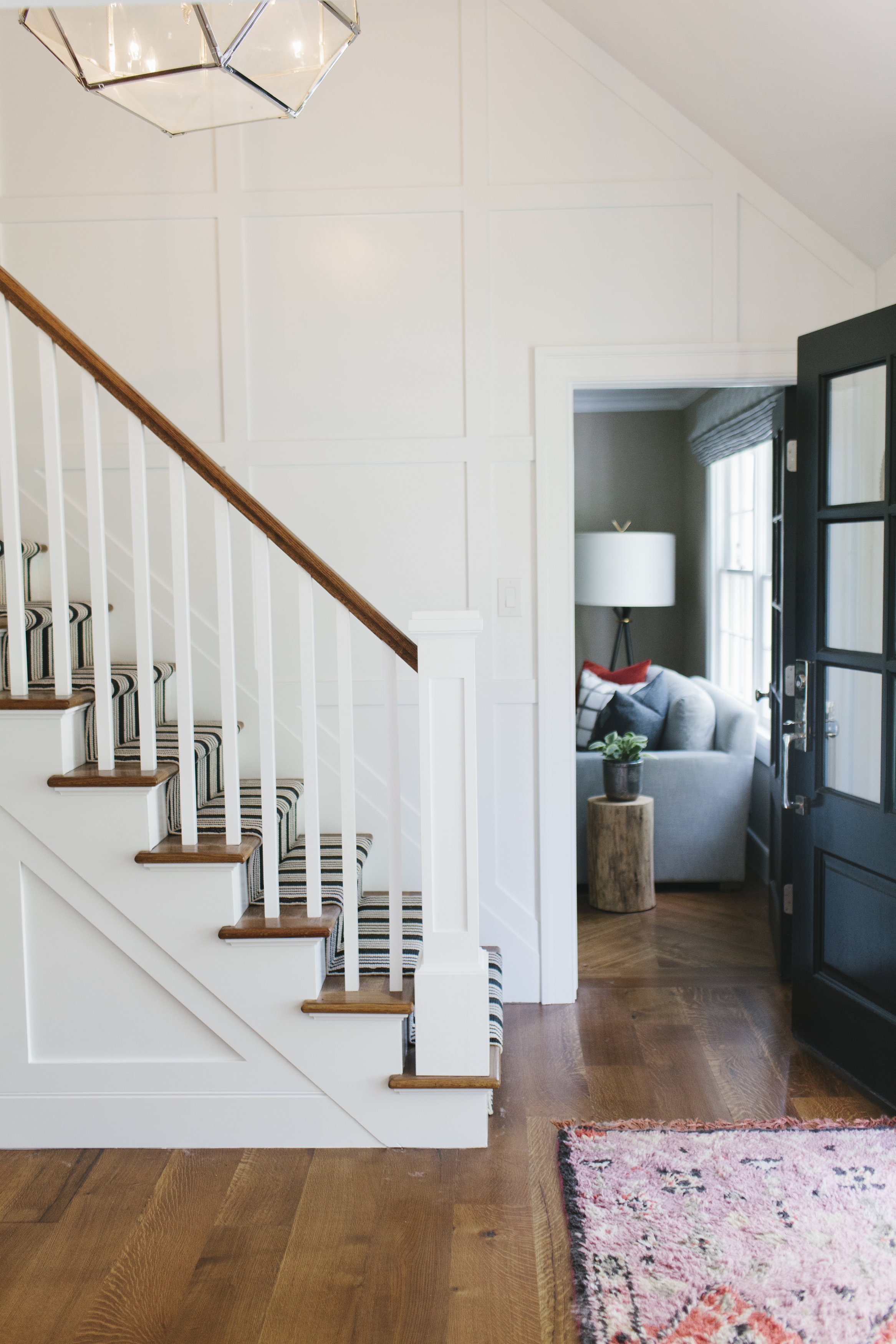 Striped stair runner and paneling || Studio McGee