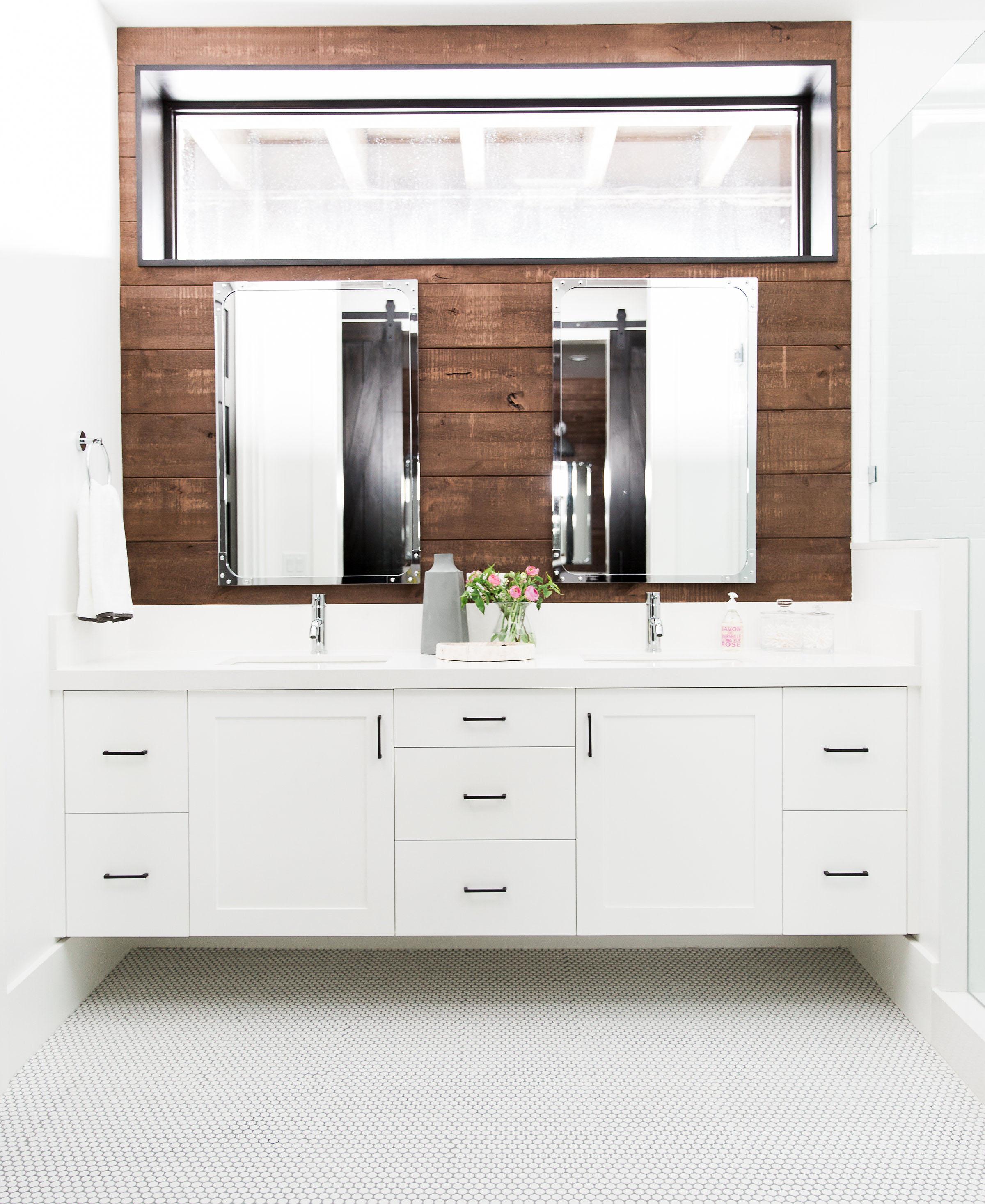 Wood Wall, Floating Vanity and Penny Tile || Studio McGee