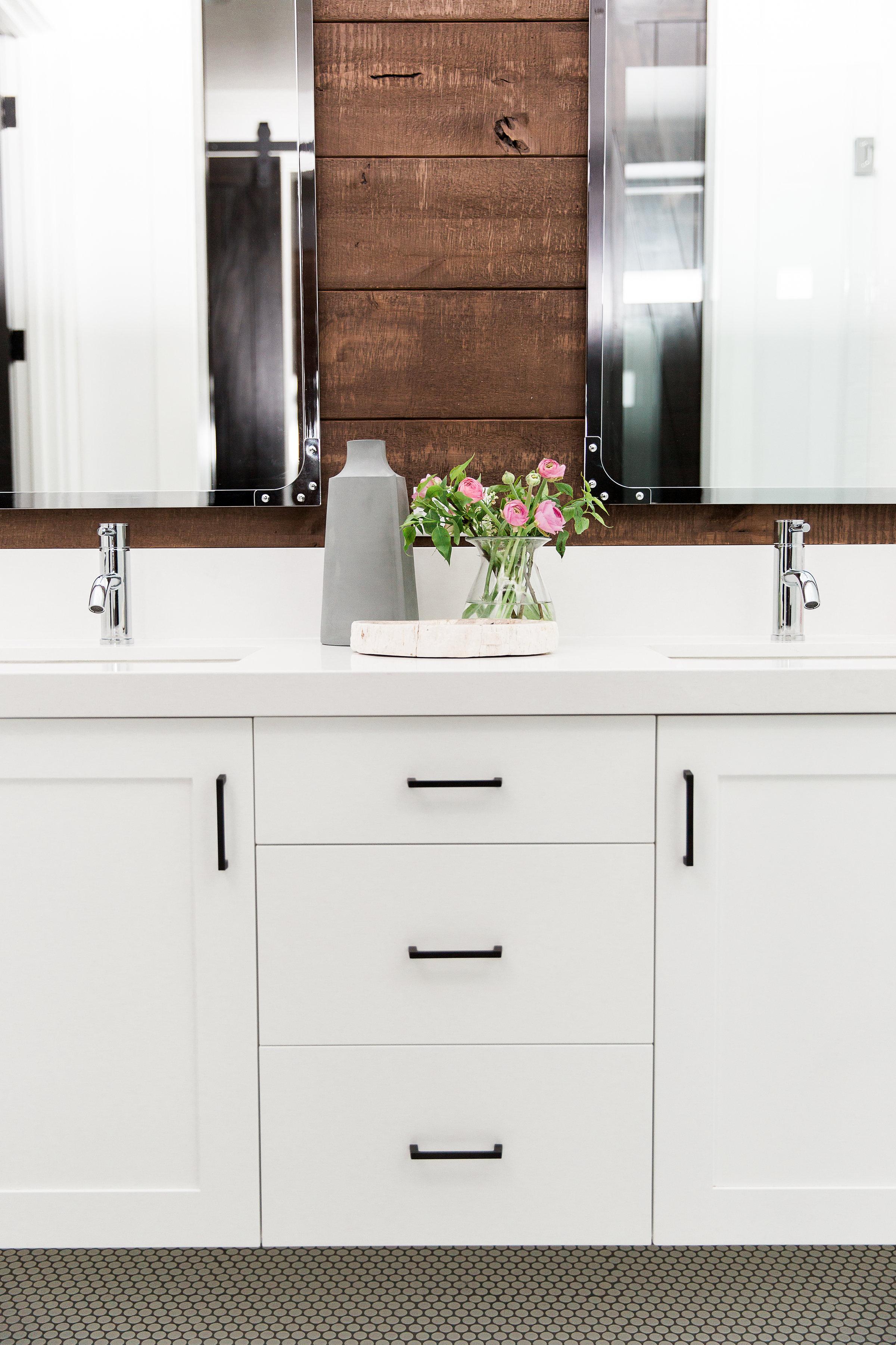Wood Wall behind vanity || Studio McGee