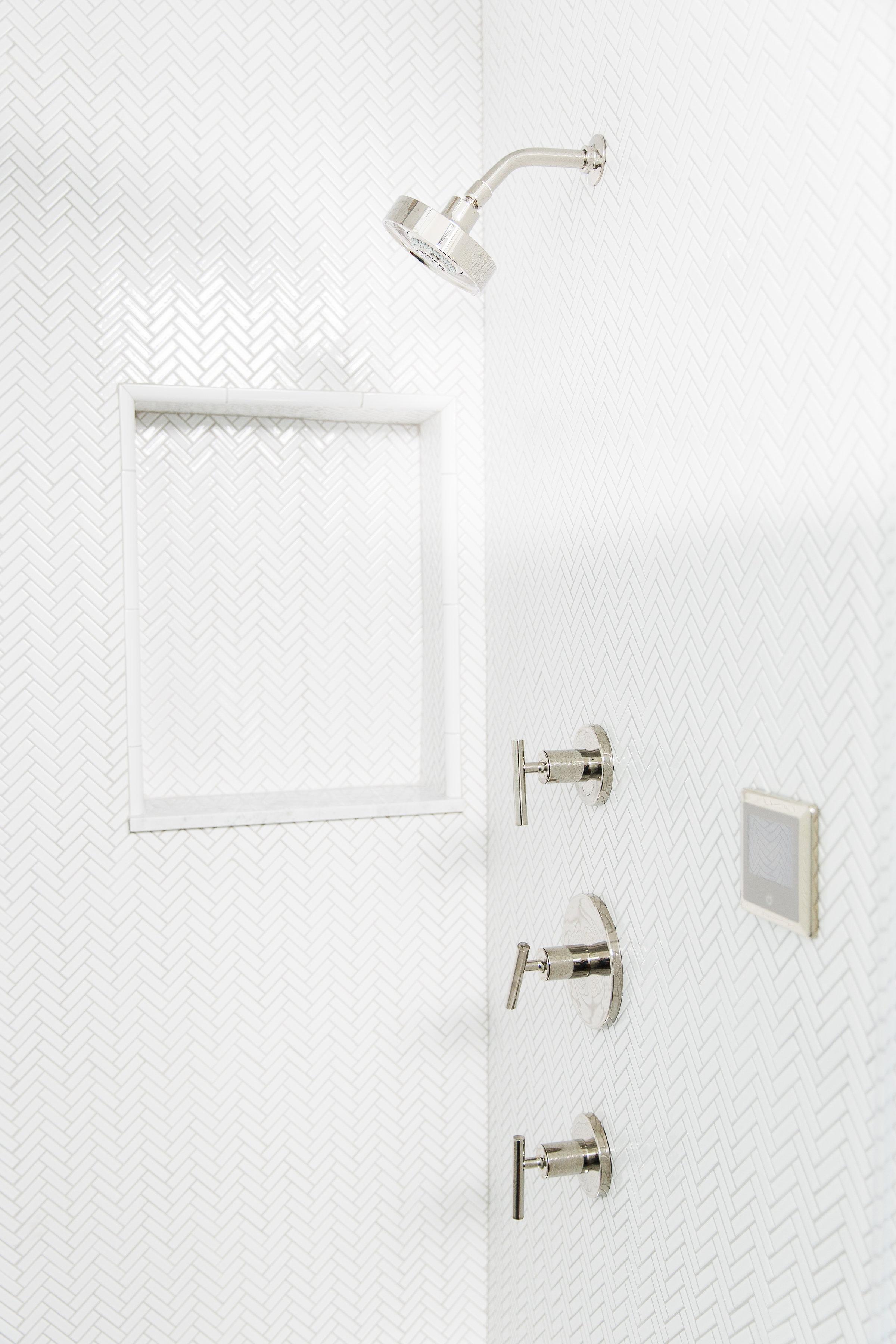 Herringbone tile with gray grout || Studio McGee