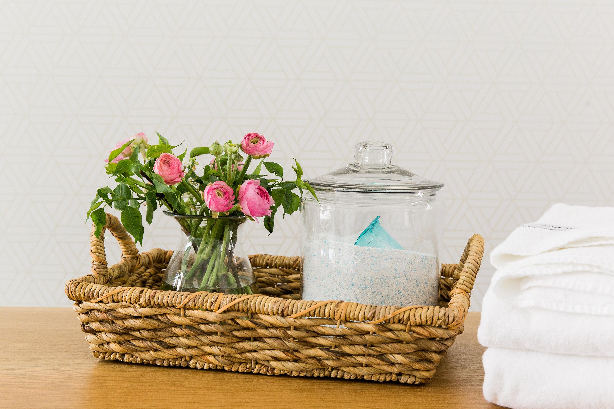 Geometric Wallpaper in laundry || Studio McGee