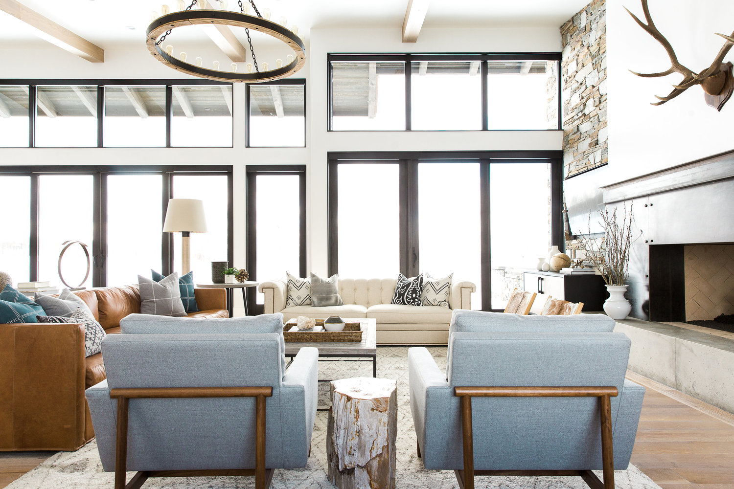 Back of double blue chairs in living room