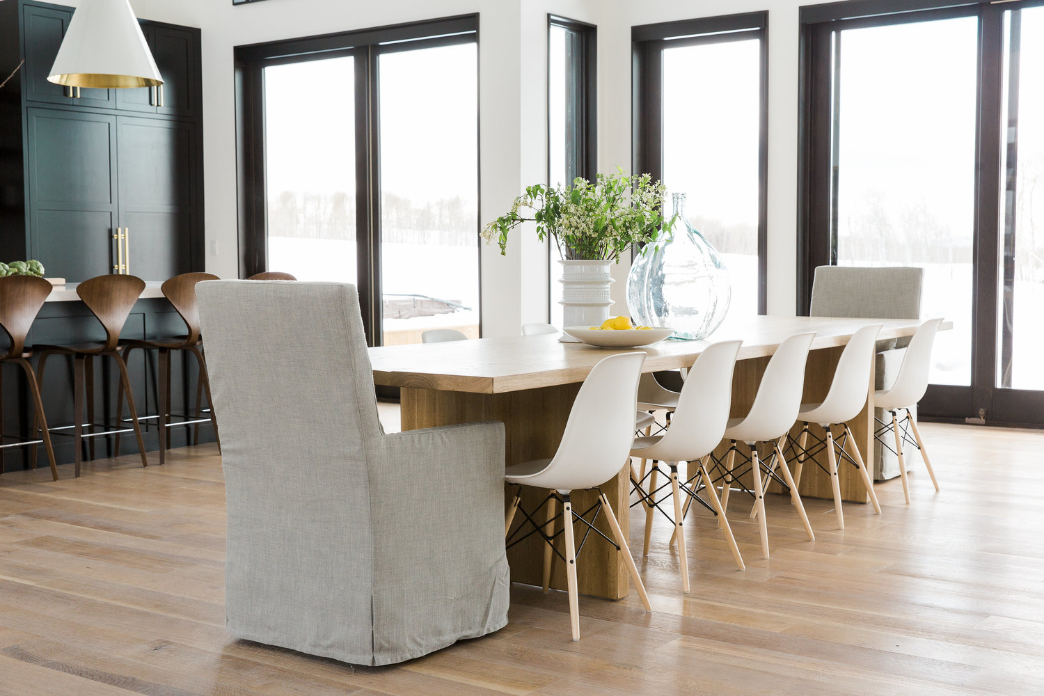 Long modern dining table with chairs