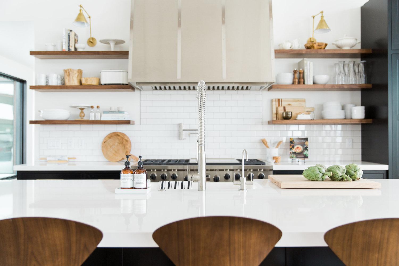 White counter top on kitchen island