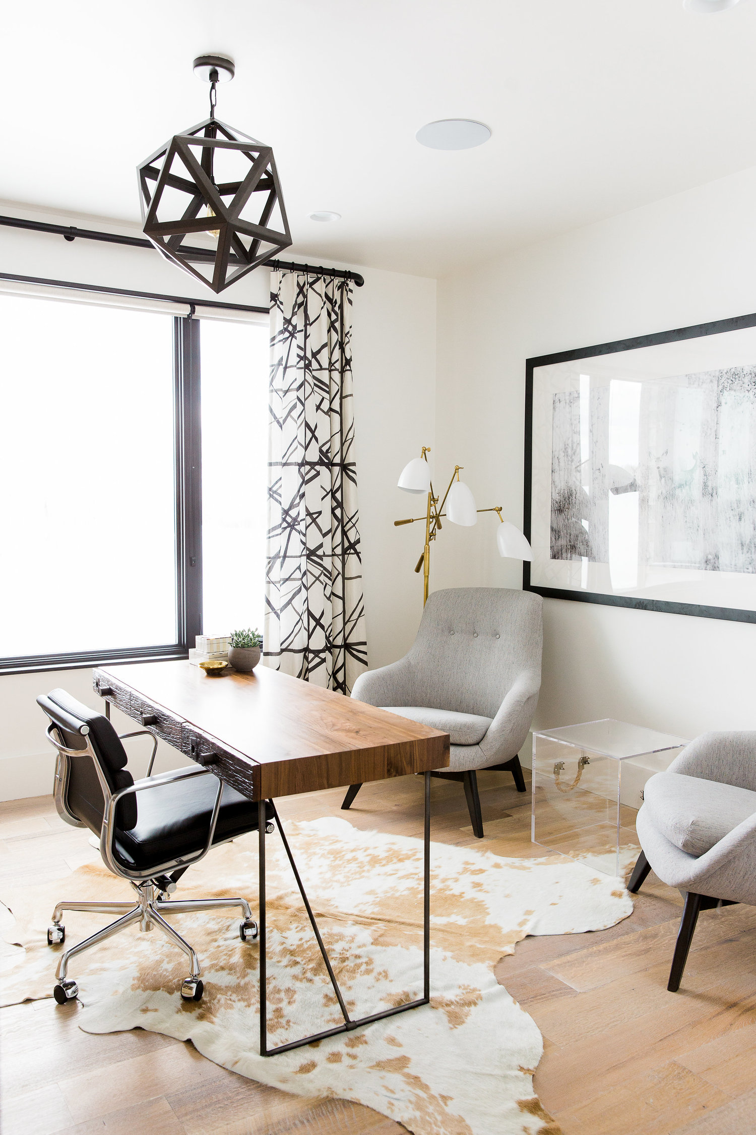 Minimalist wooden desk and chair in home office