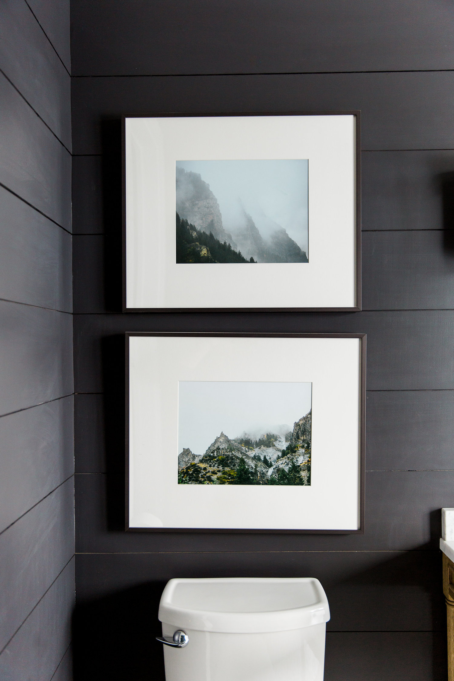 Two framed pictures hanging above toilet