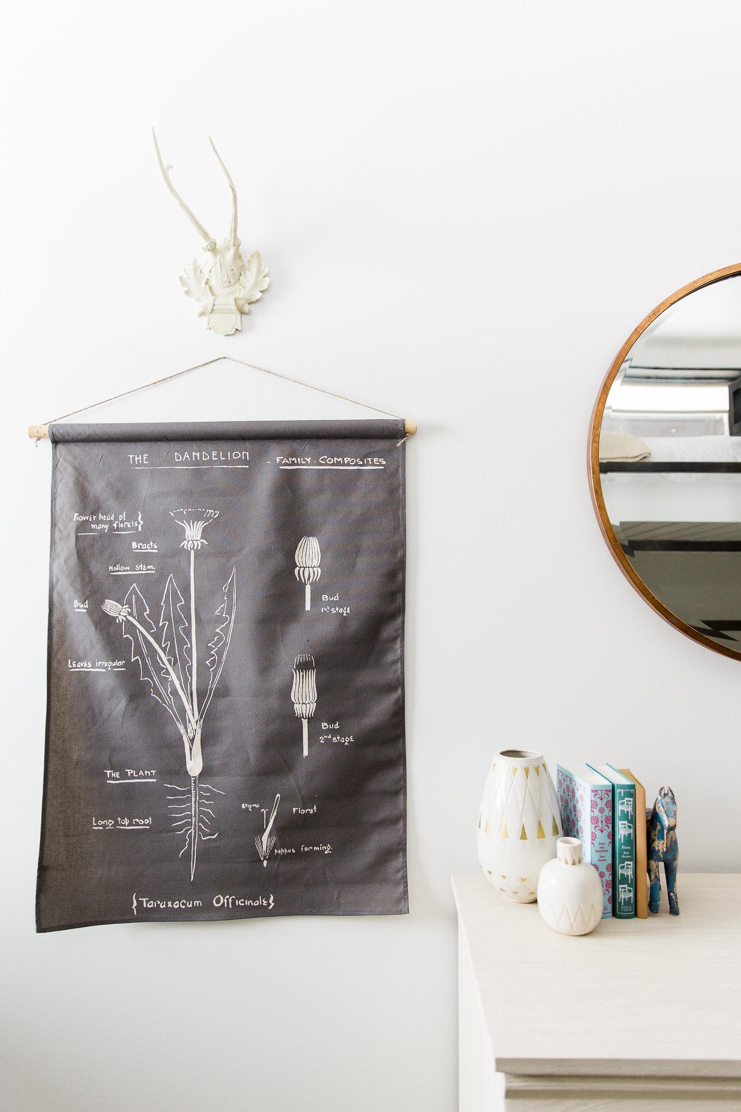 Hanging wall art beside mirror
