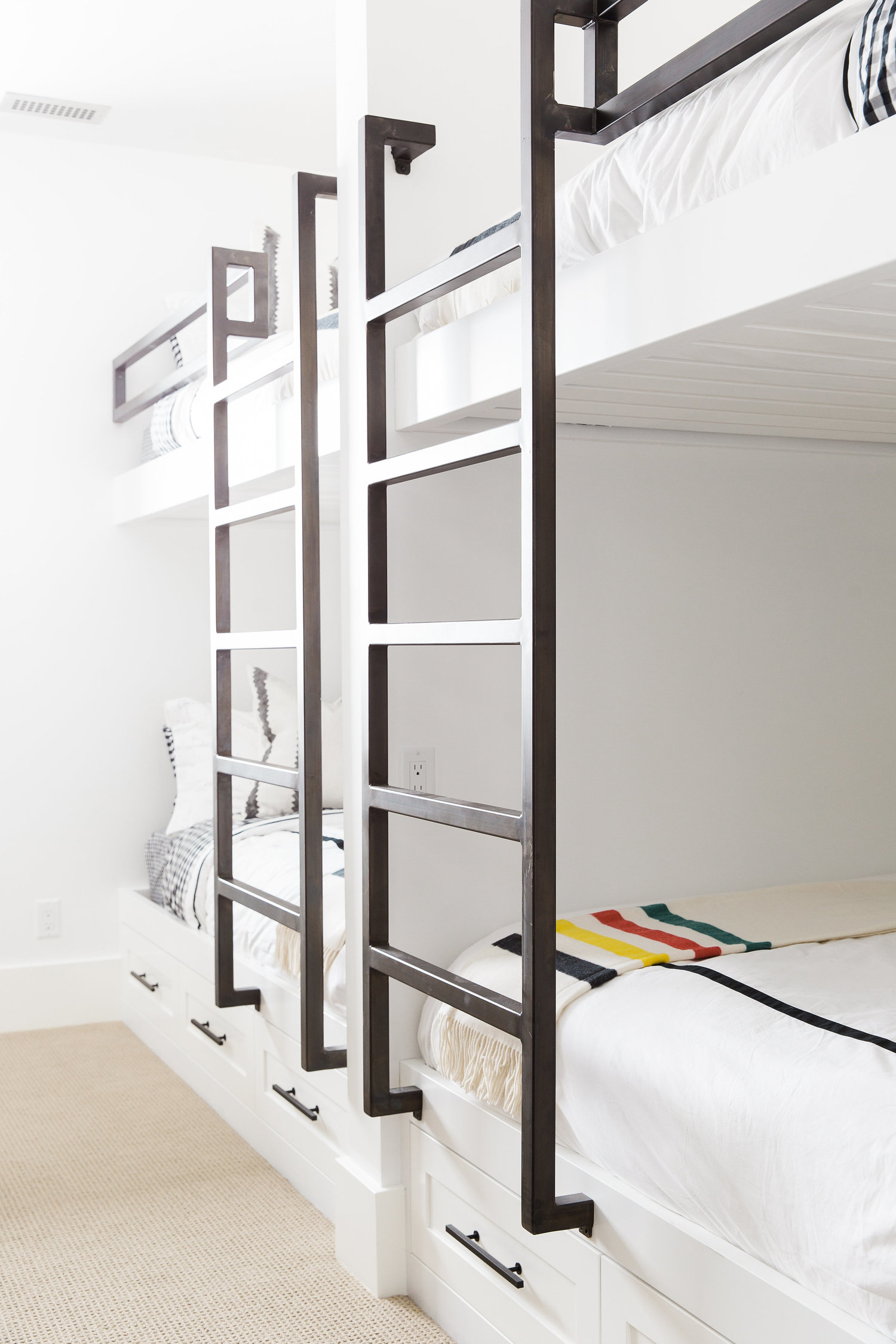 Metal ladders mounted on bunk beds
