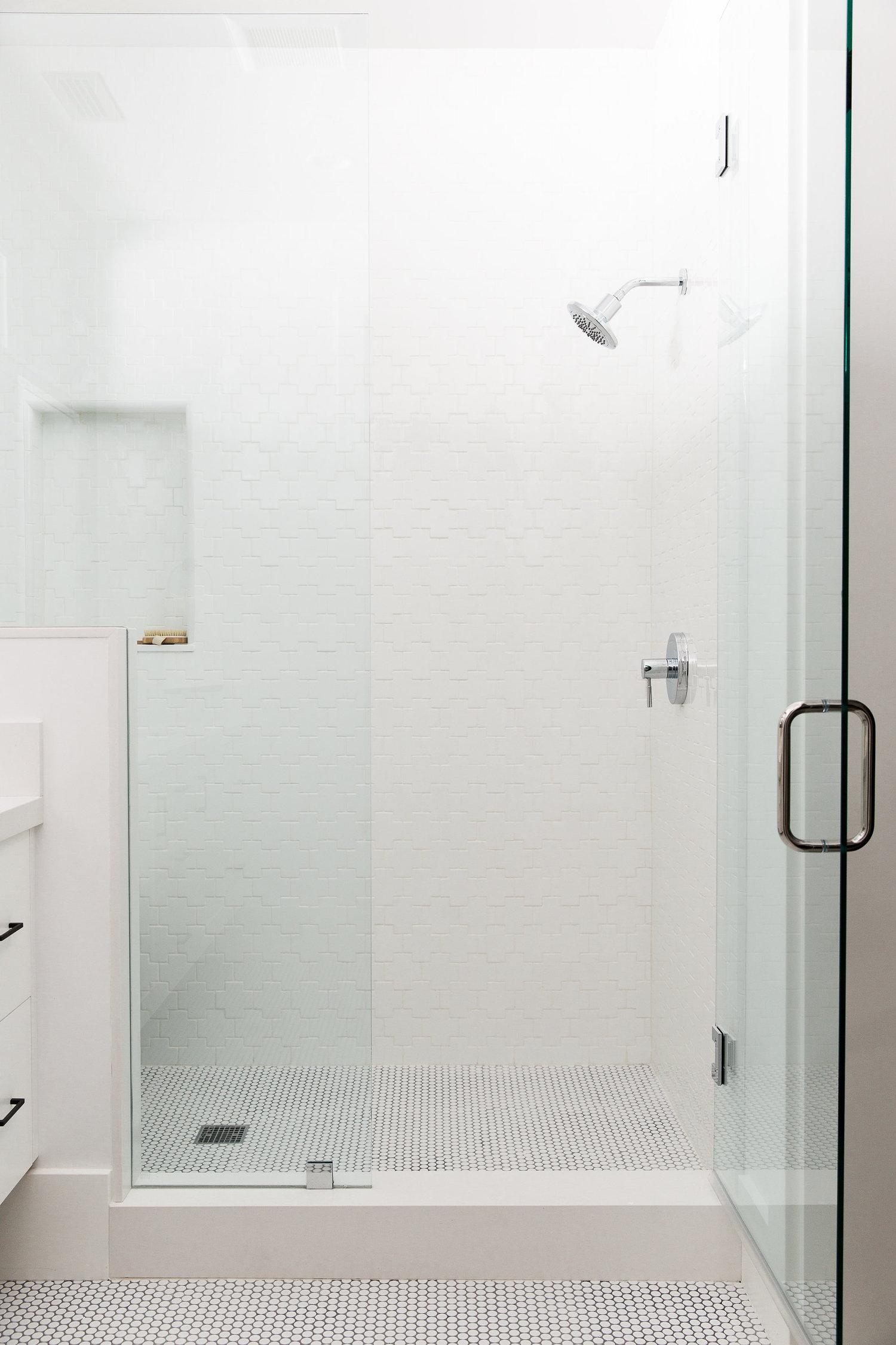 Glass door of bathroom standing shower