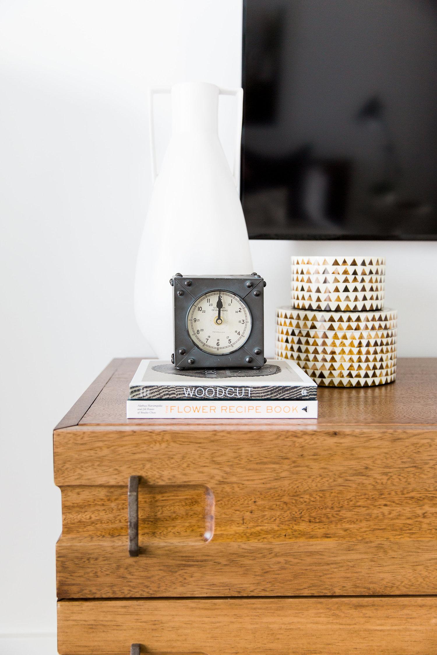 Wooden dresser and handle details