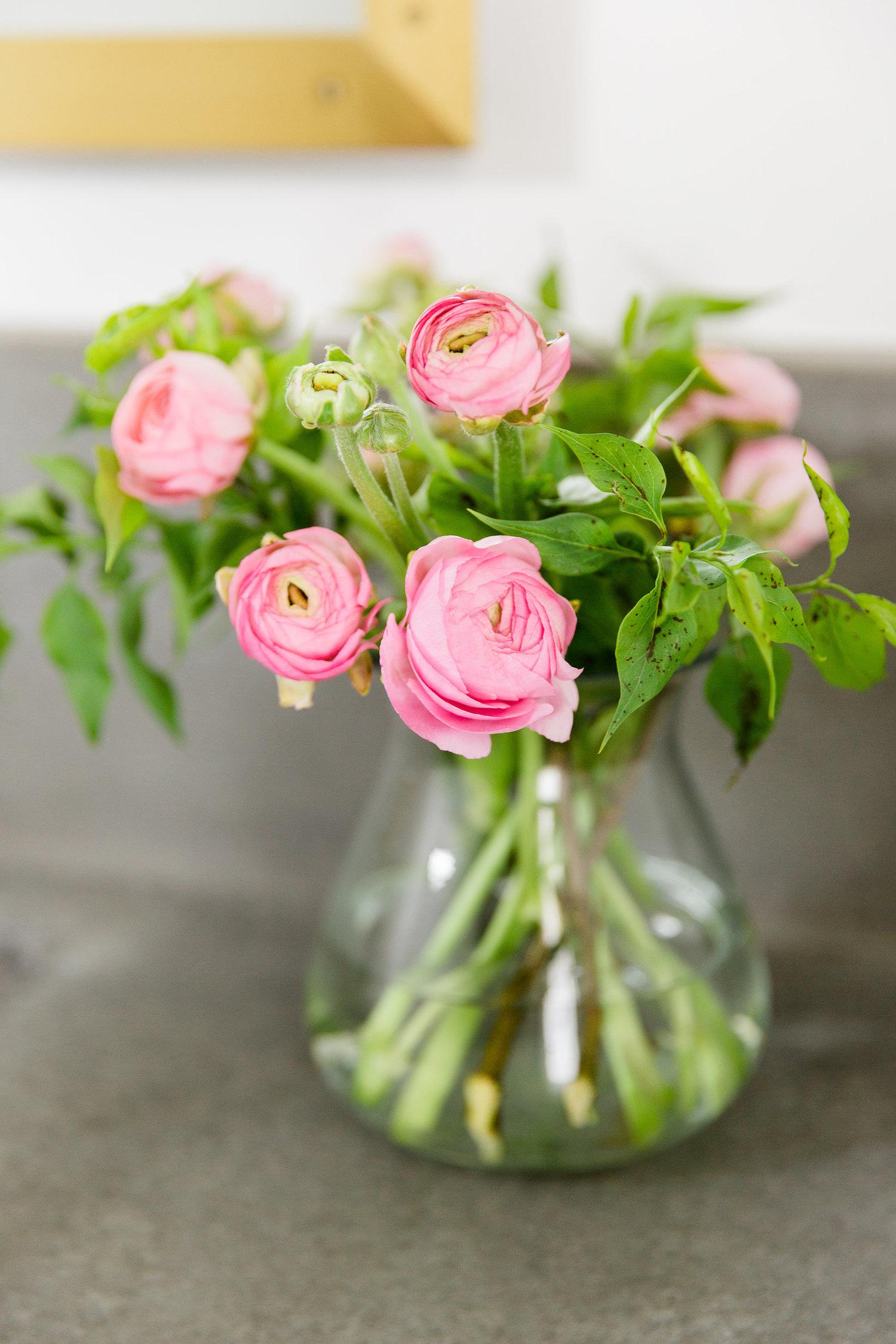 Flowers on bathroom vanity
