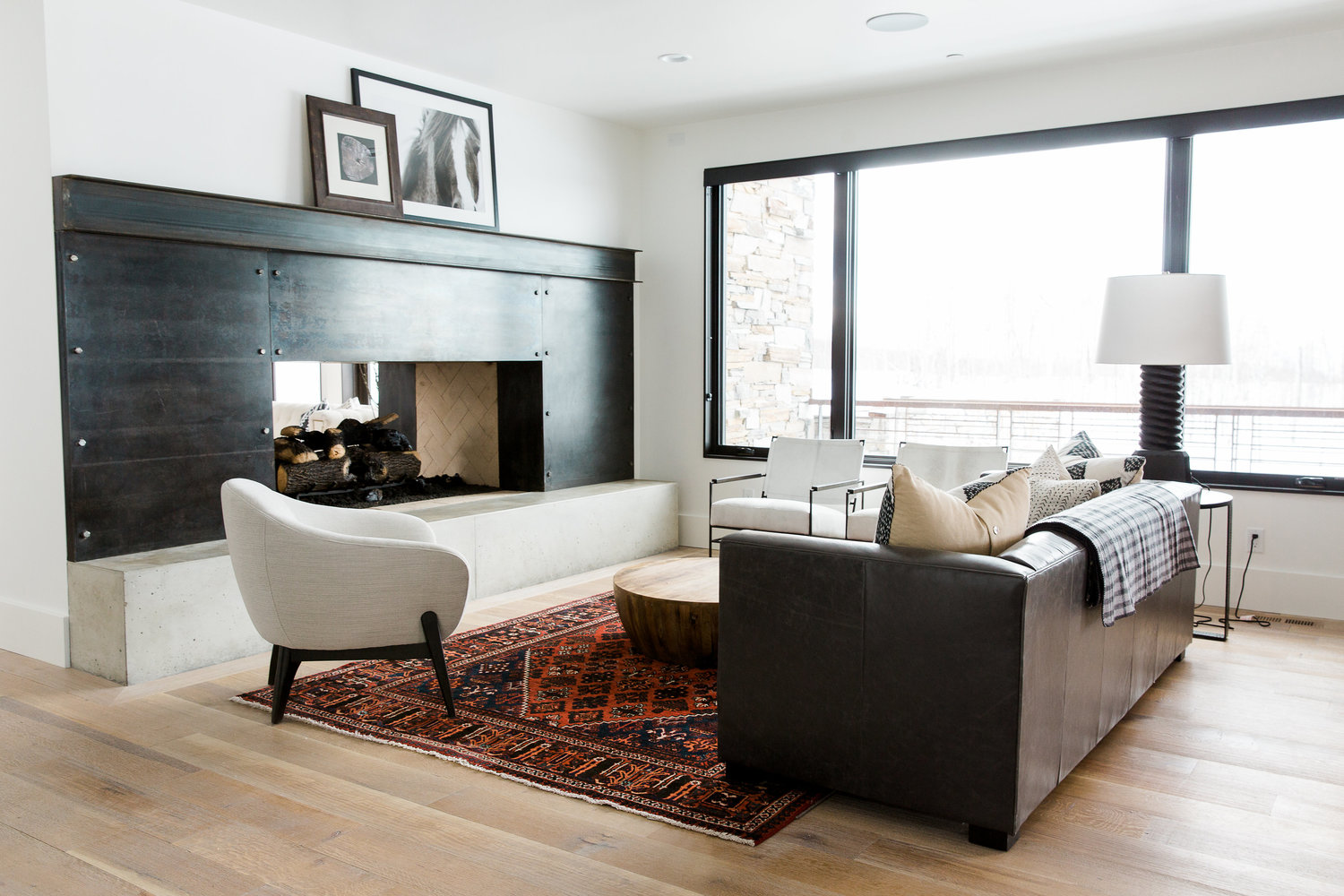 White sofa and brown couch in living room