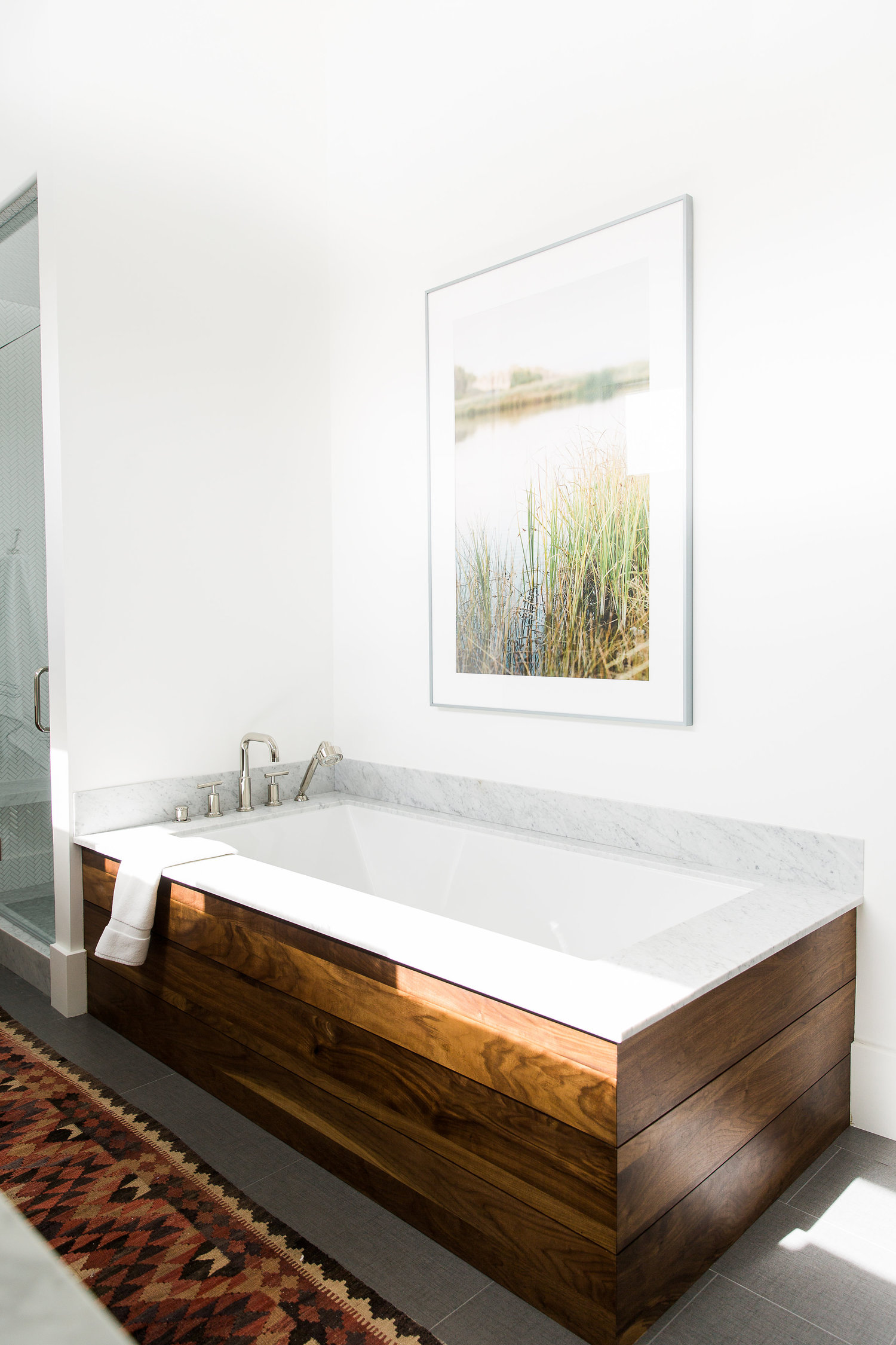 Large tub with wooden siding