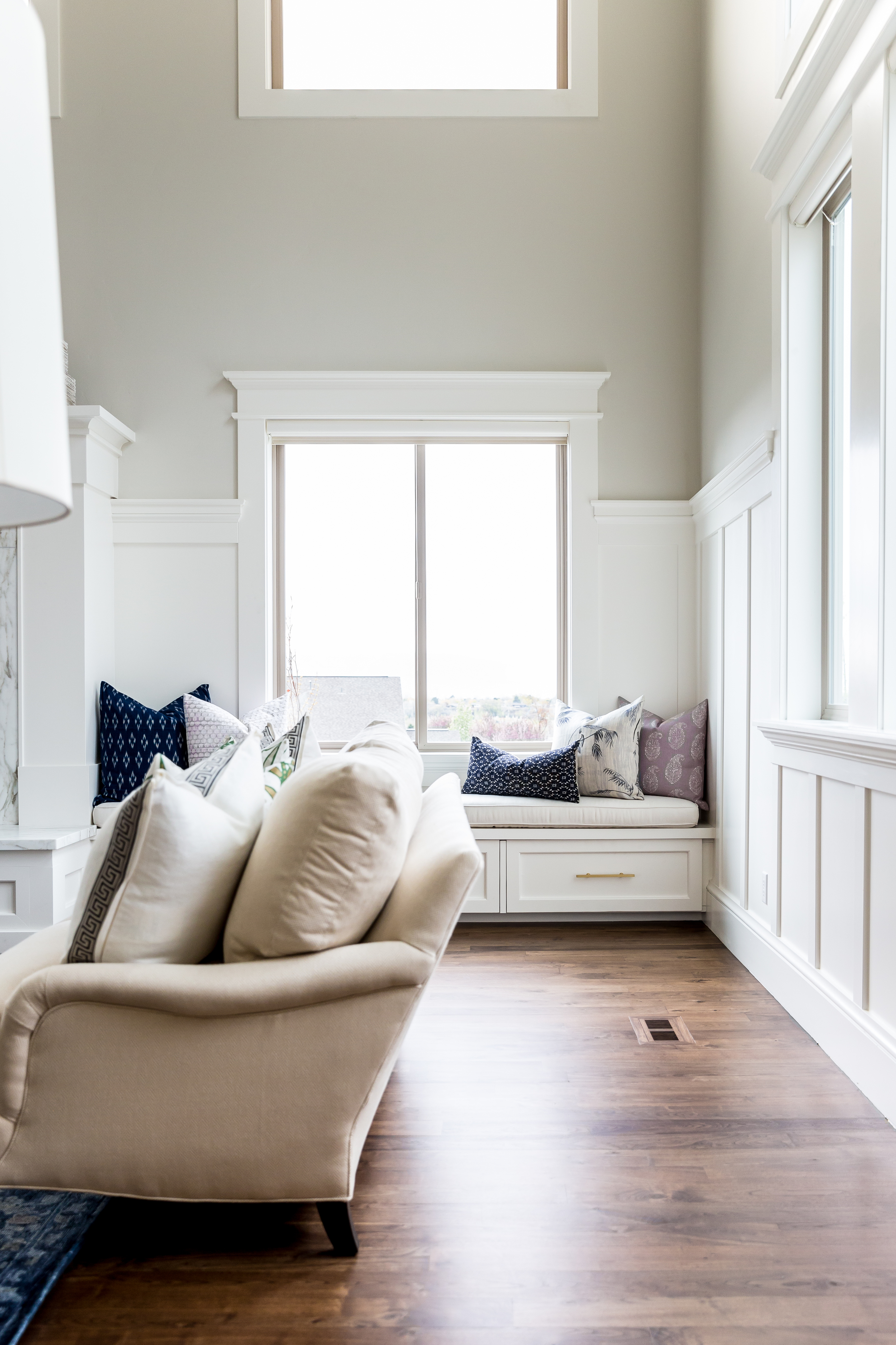 Window seat next to fireplace || Studio McGee