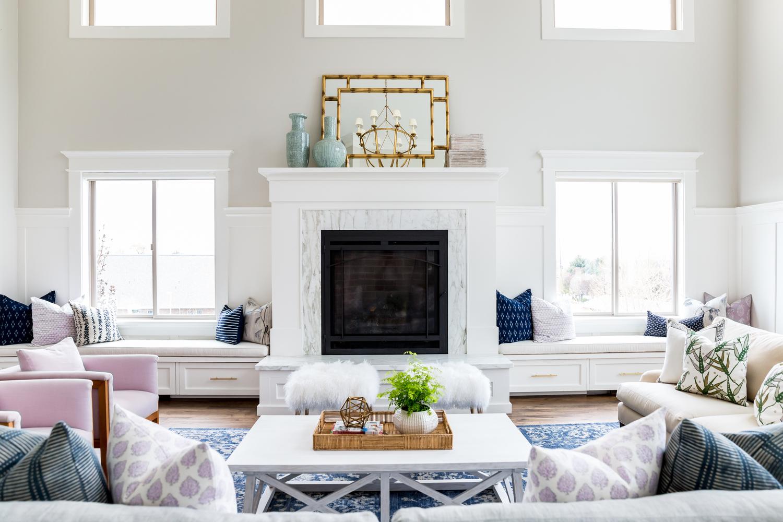 White fireplace in modern living room