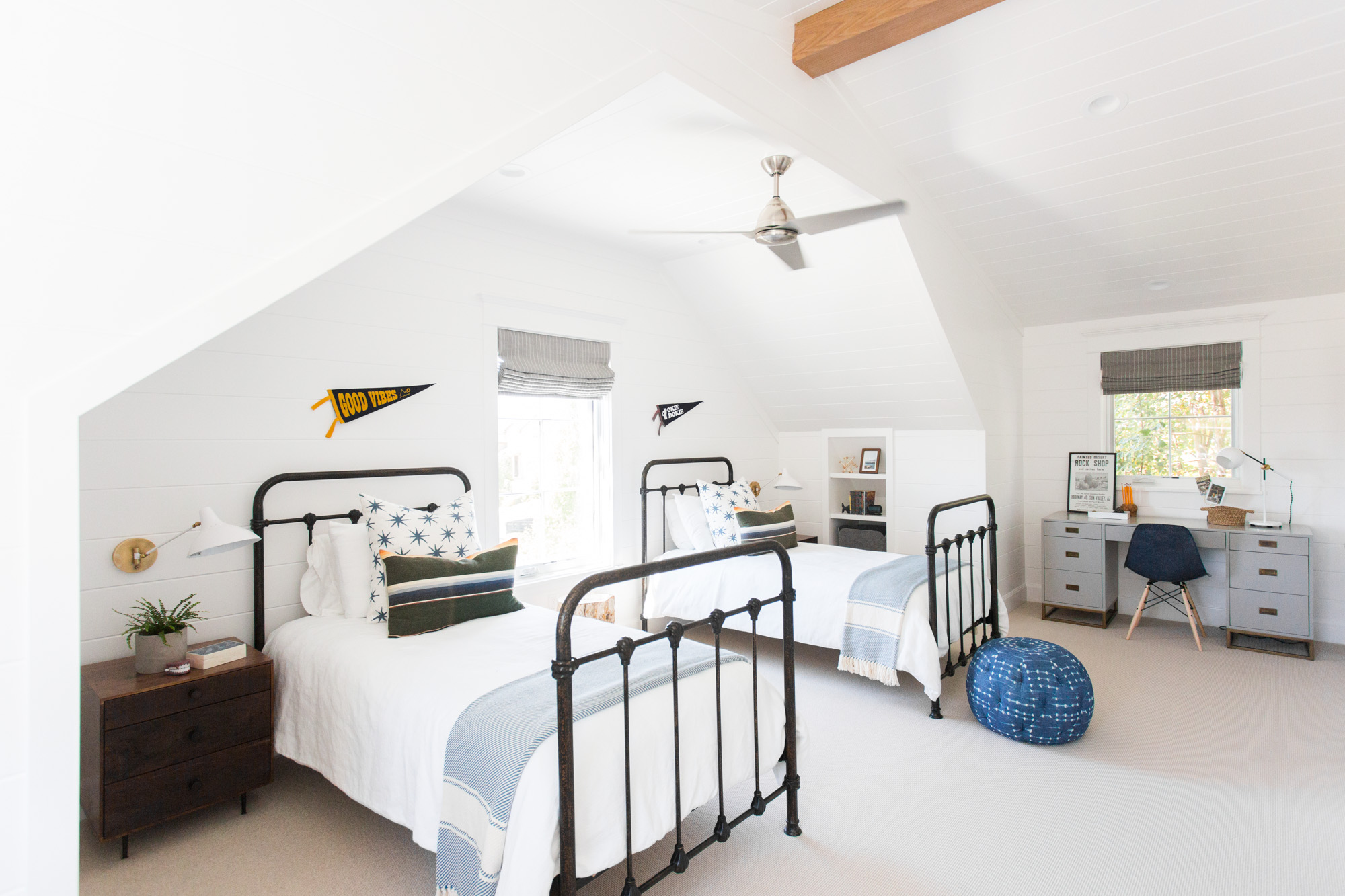 Boys' room with twin beds and shiplap || Studio McGee