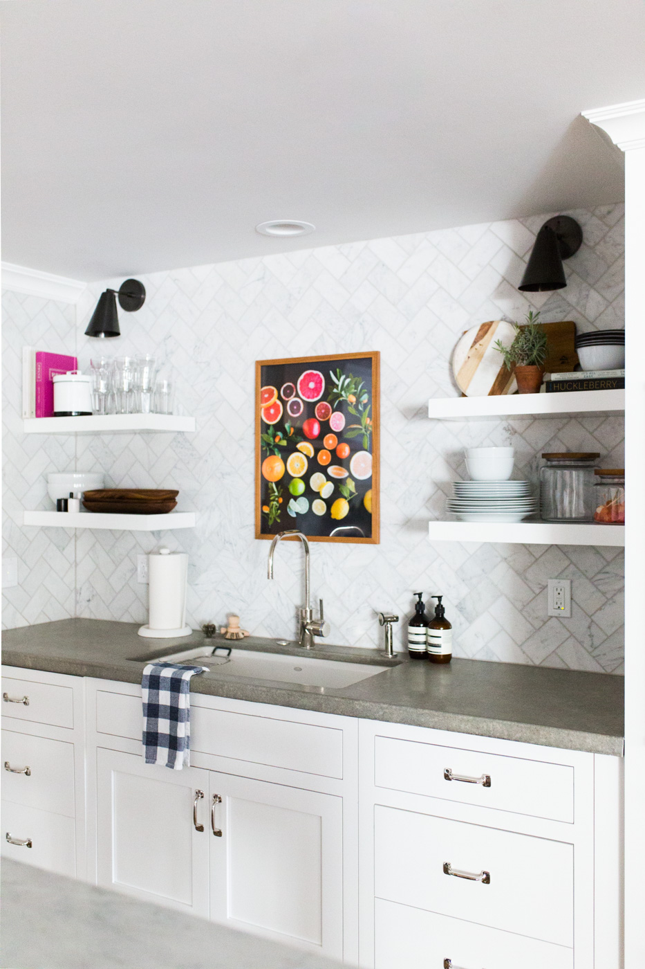 Marble Herringbone Backsplash and Floating Shelves || Studio McGee