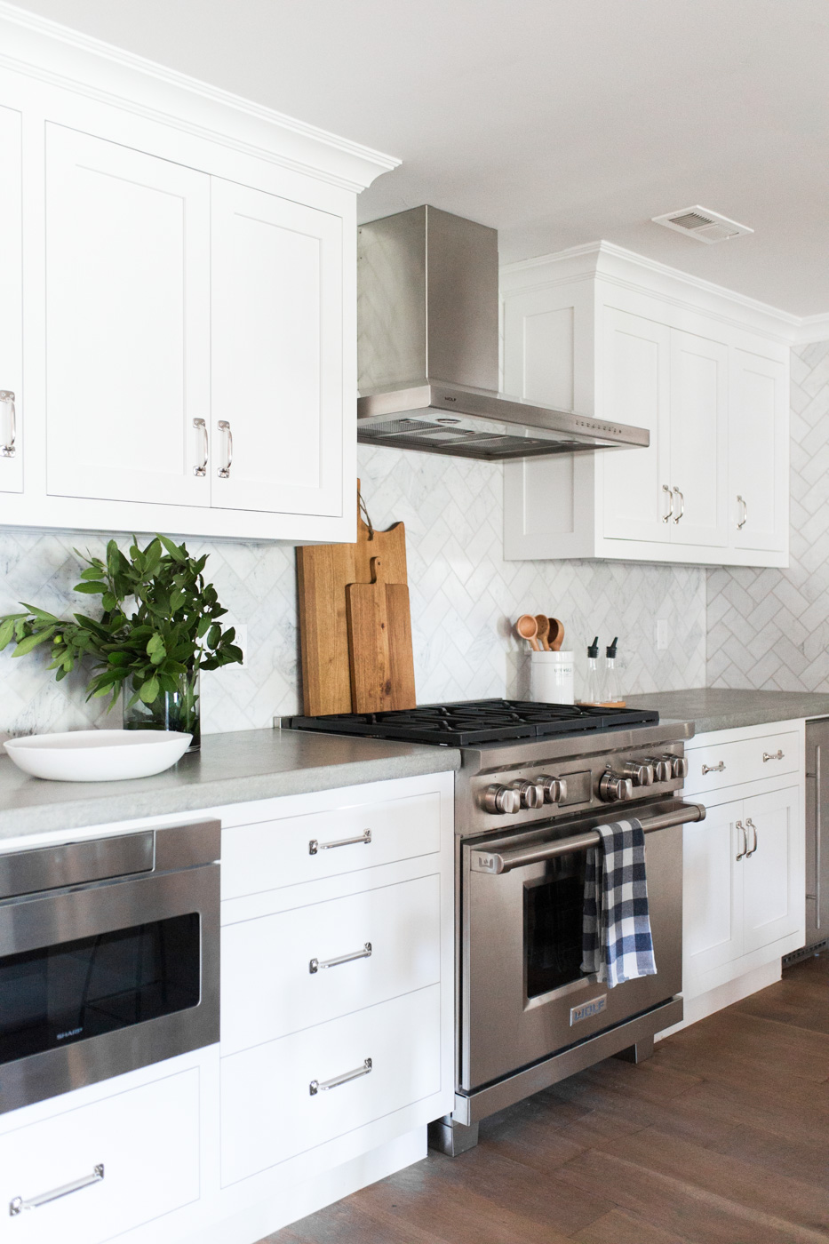 Marble Herringbone Backsplash and Concrete Counters || Studio McGee