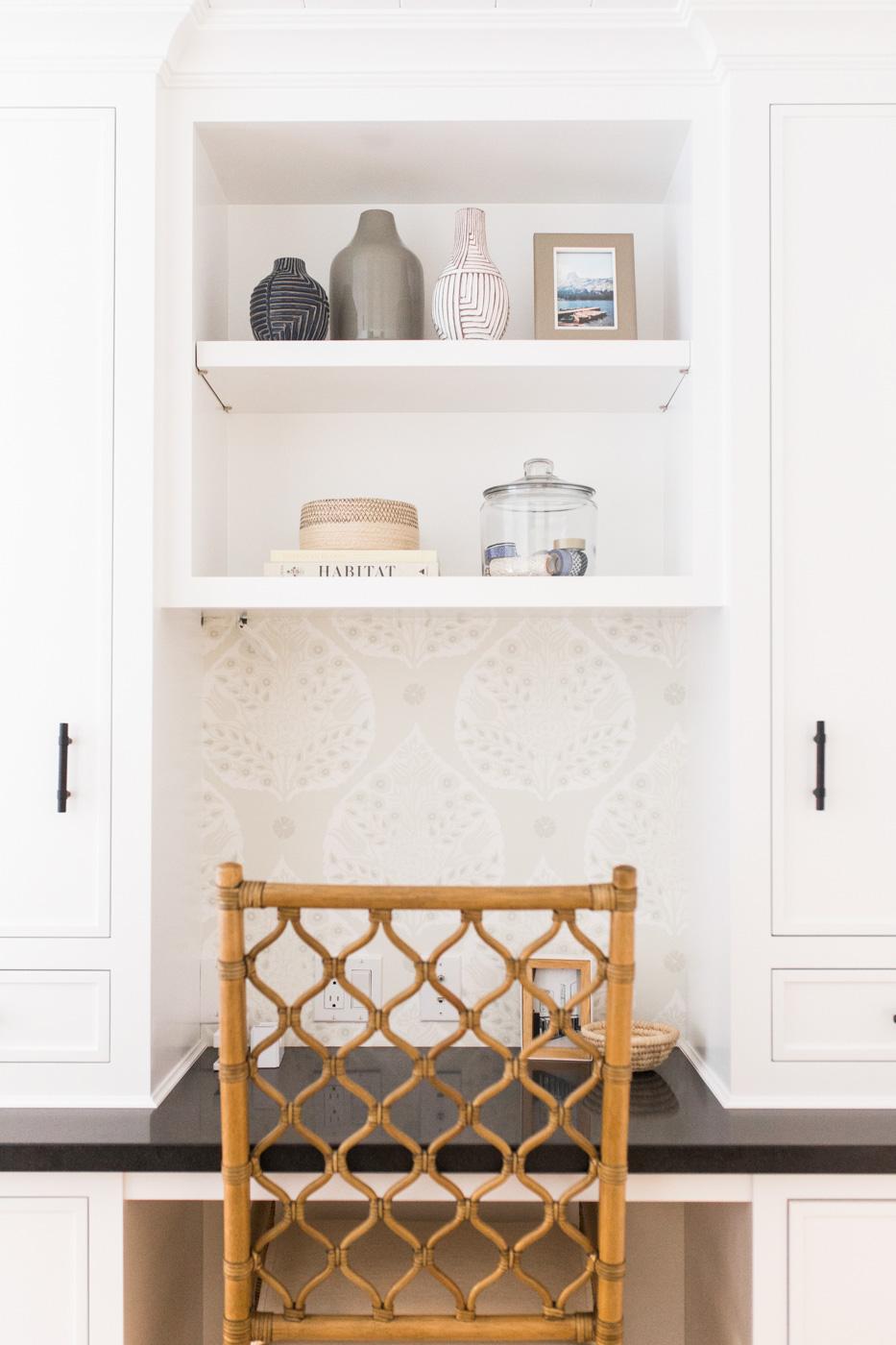Built-in desk with wallpaper || Studio McGee
