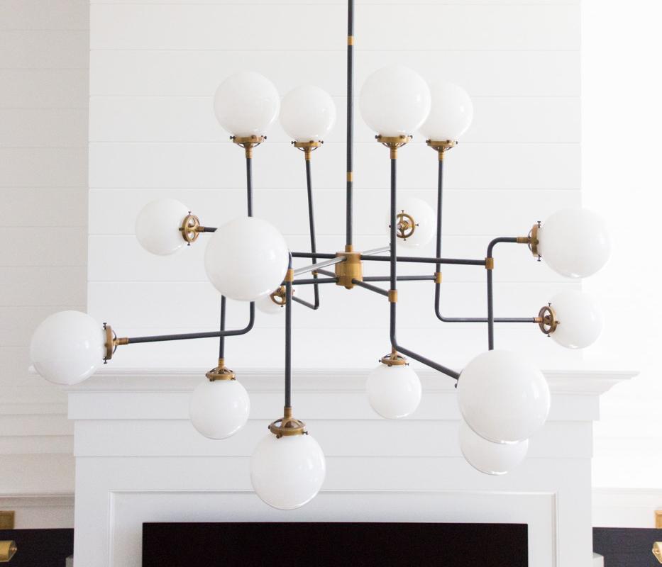 Industrial chandelier in Windsong living room
