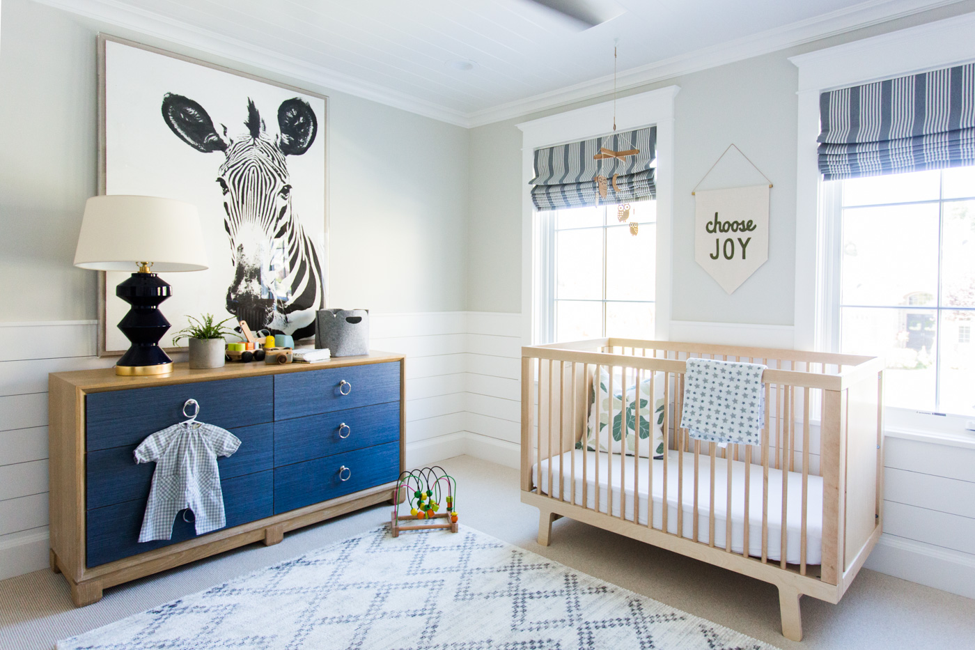 Blue and white baby nursery in Windsong house