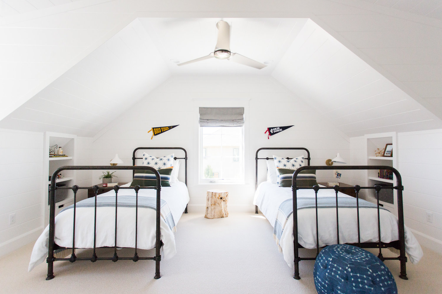 Two twin beds in attic of Windsong house