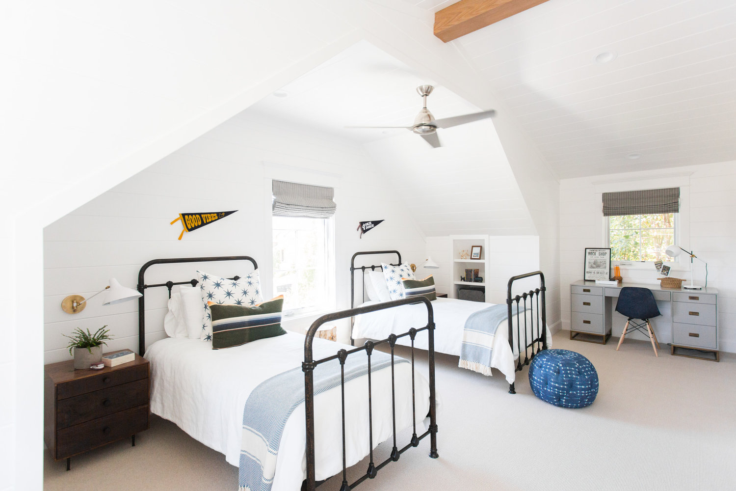 Attic bedroom and white entry door