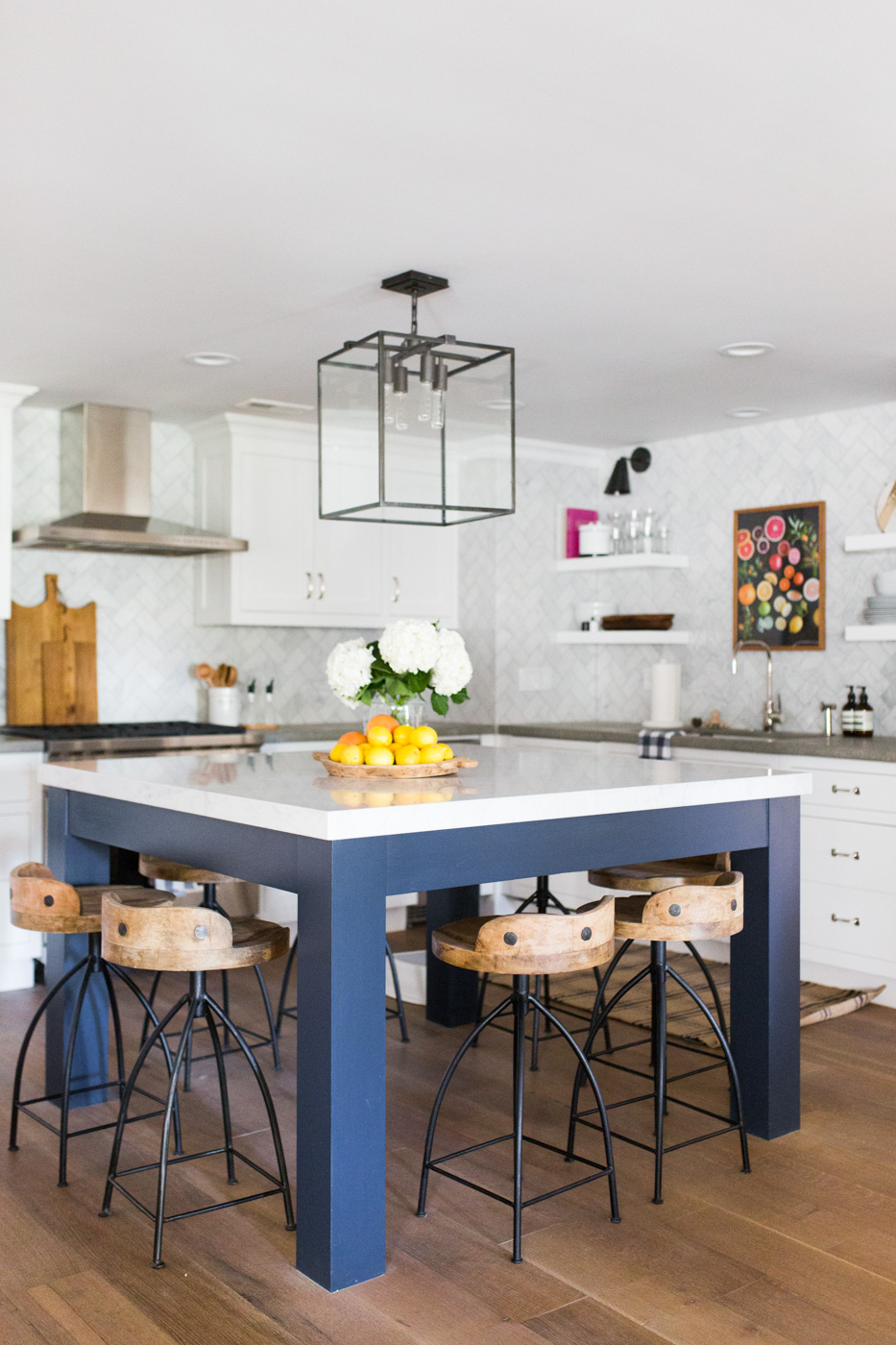 Blue dining table with white counter top