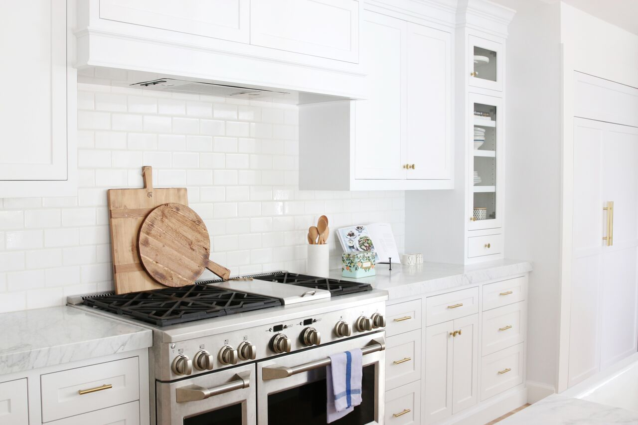 Stainless steel oven and stove top in kitchen