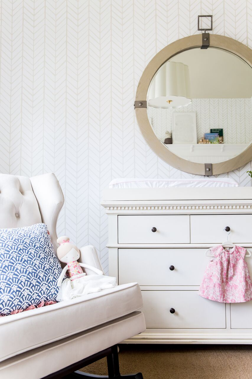 White dresser with black handle accents
