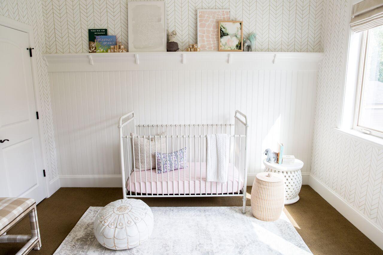 White crib in child's nursery