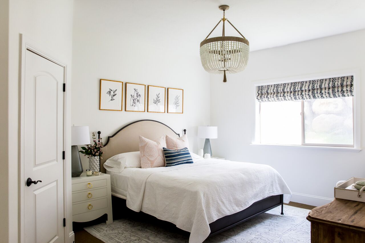 Renovated white modern bedroom in foothill house