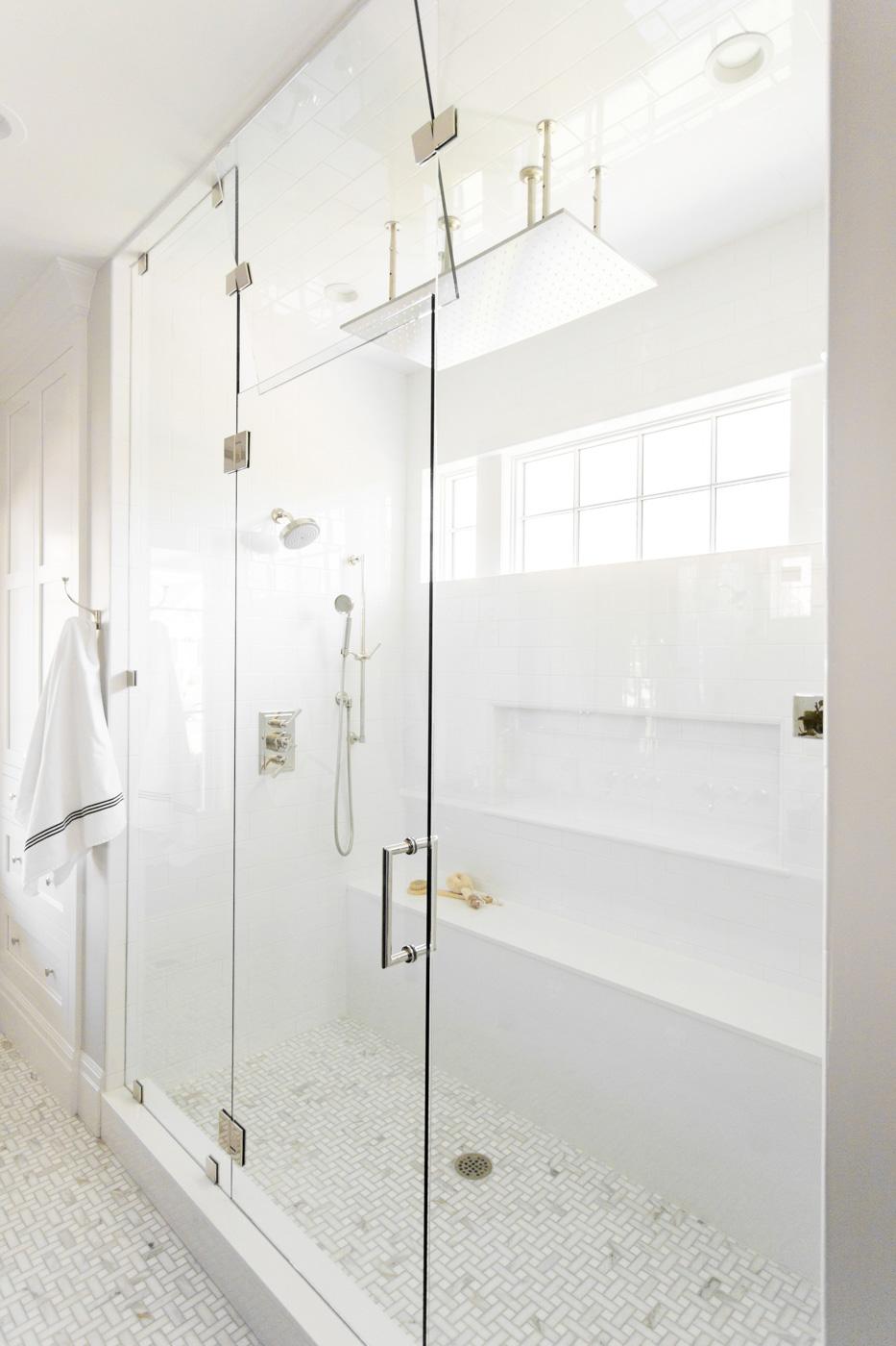 Large glass doors on bathroom shower