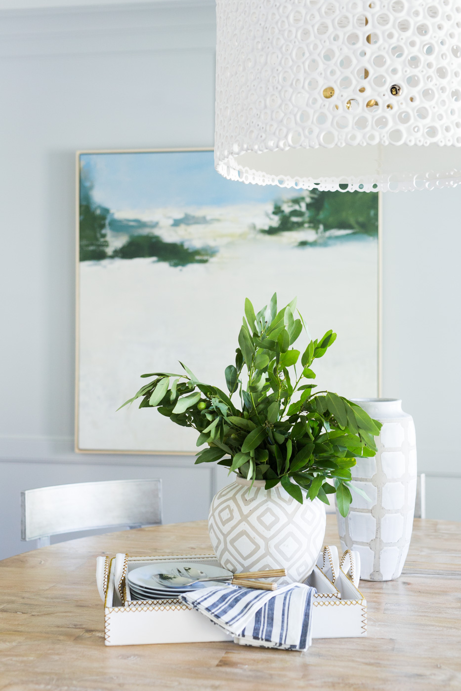 Plant details atop dining room table