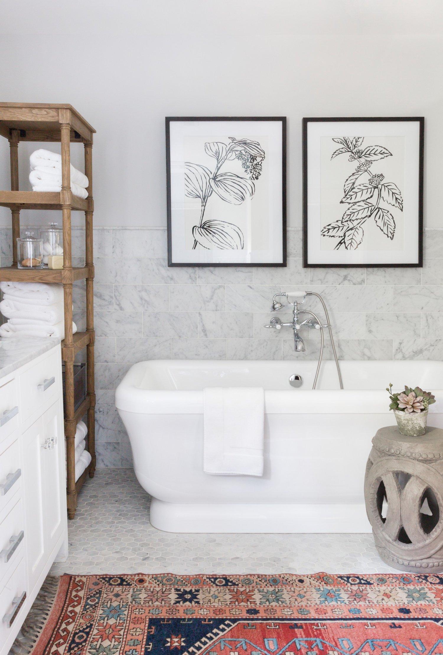 White porcelain tub in master bathroom