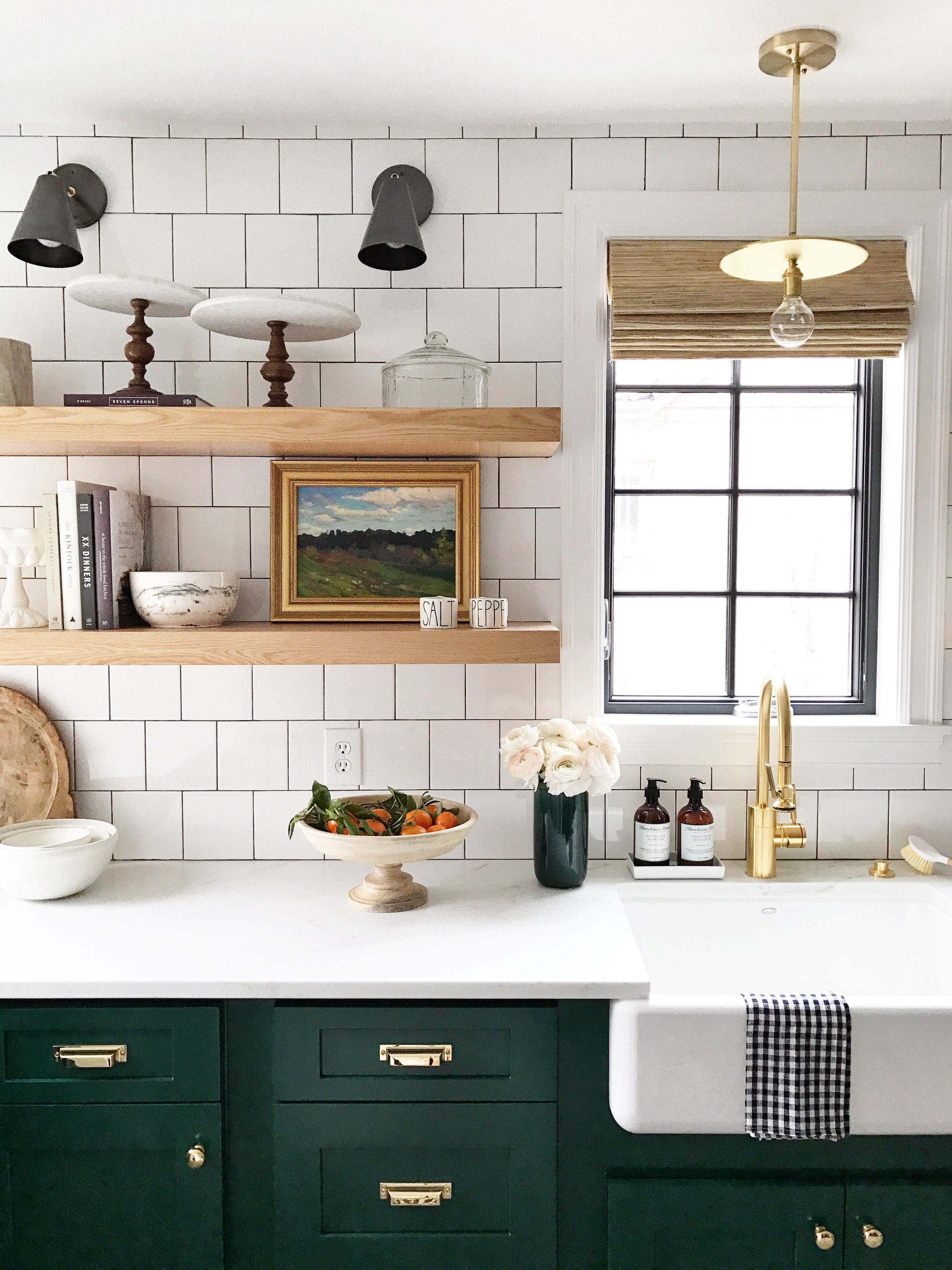 Green Kitchen with Brass Hardware by Studio McGee