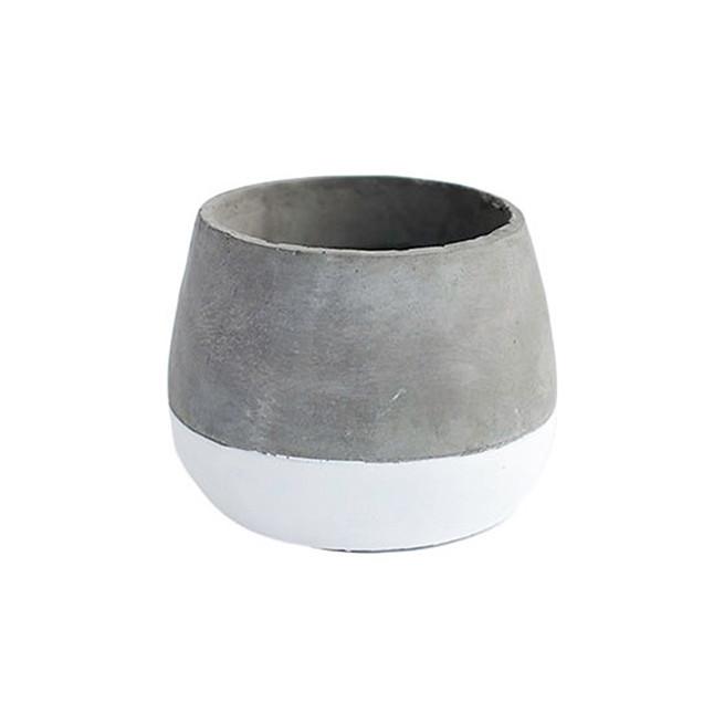 White Base Cement Pot