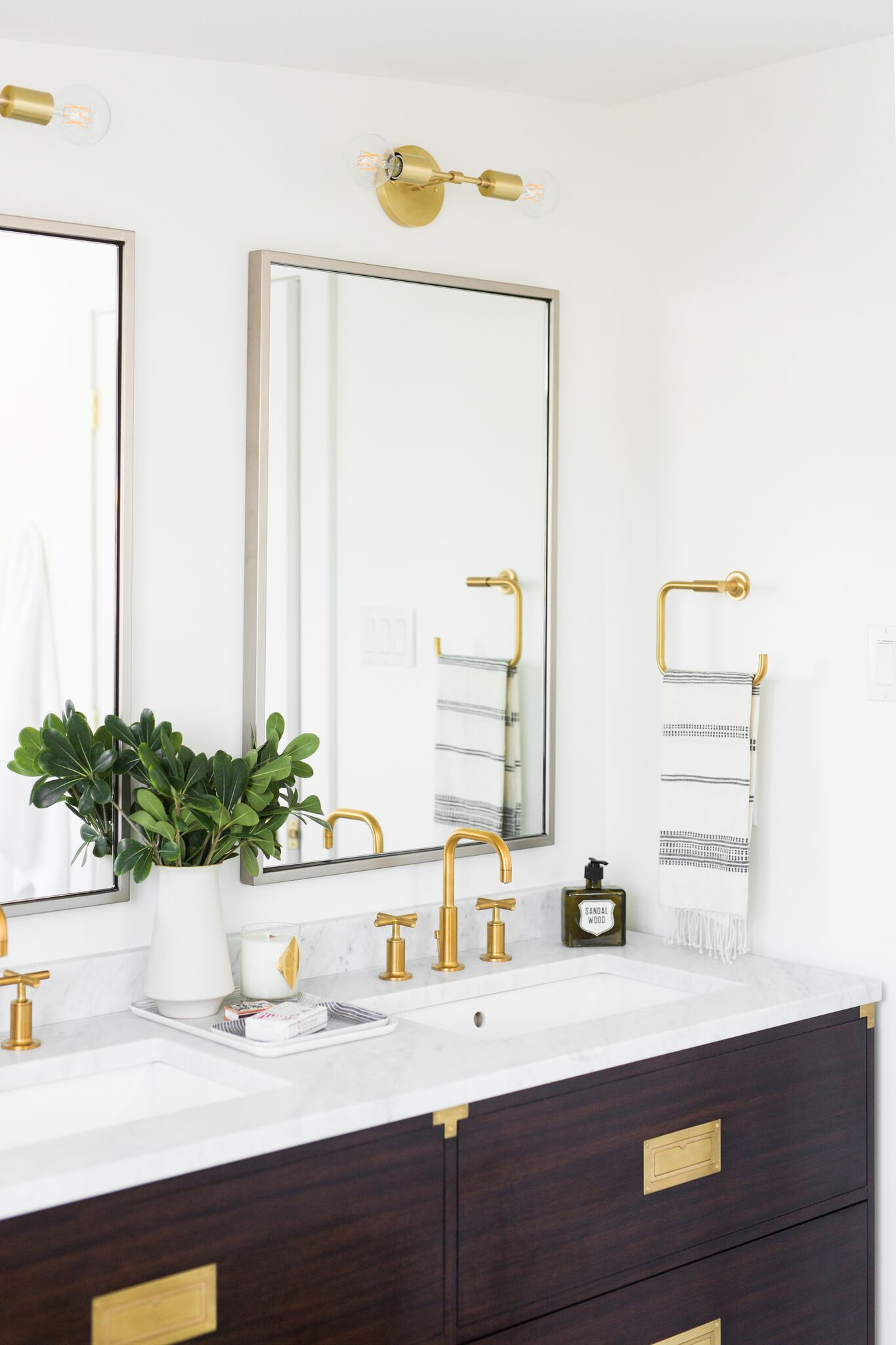 Decorative details atop the white vanity
